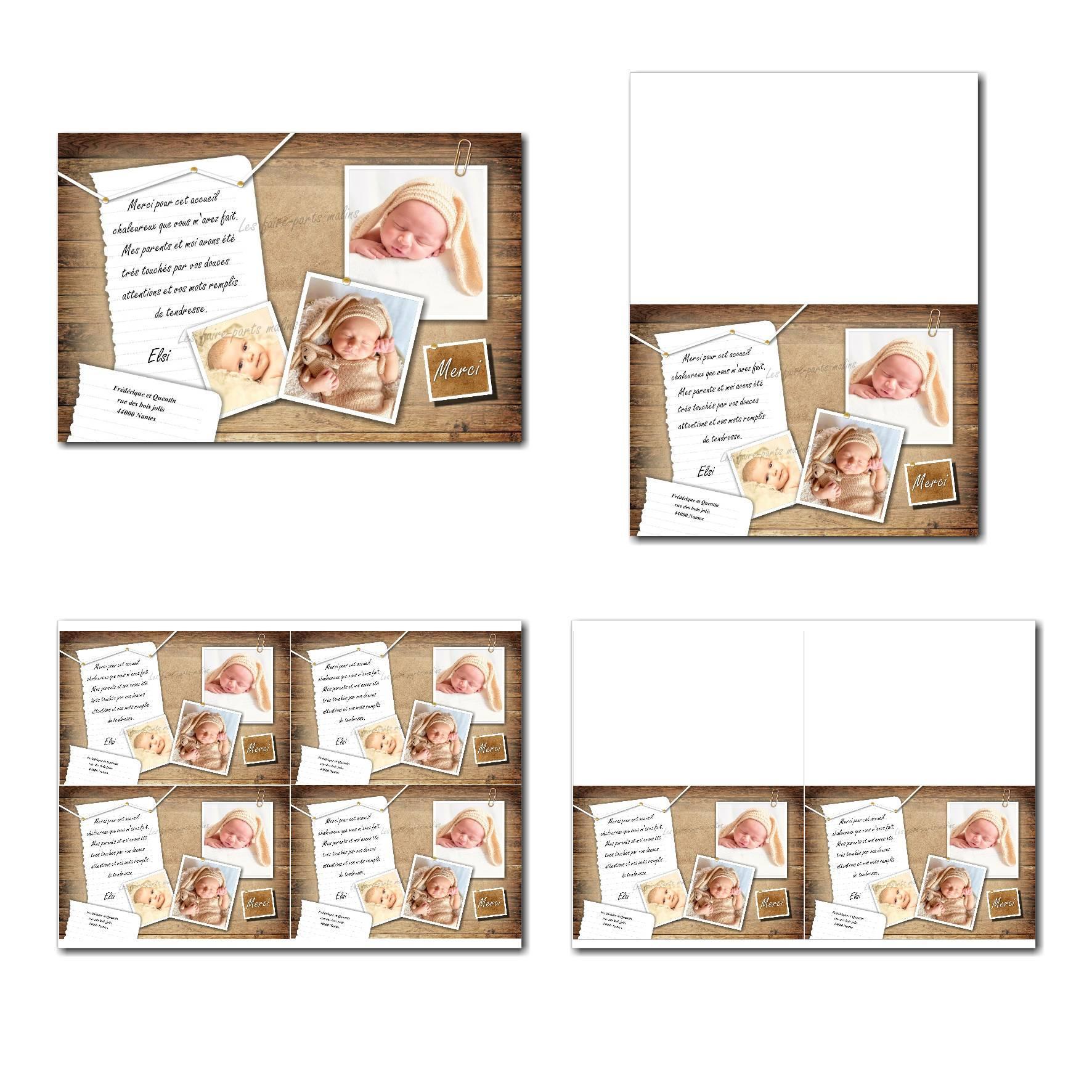 Carte de remerciements à imprimer fond bois avec photos