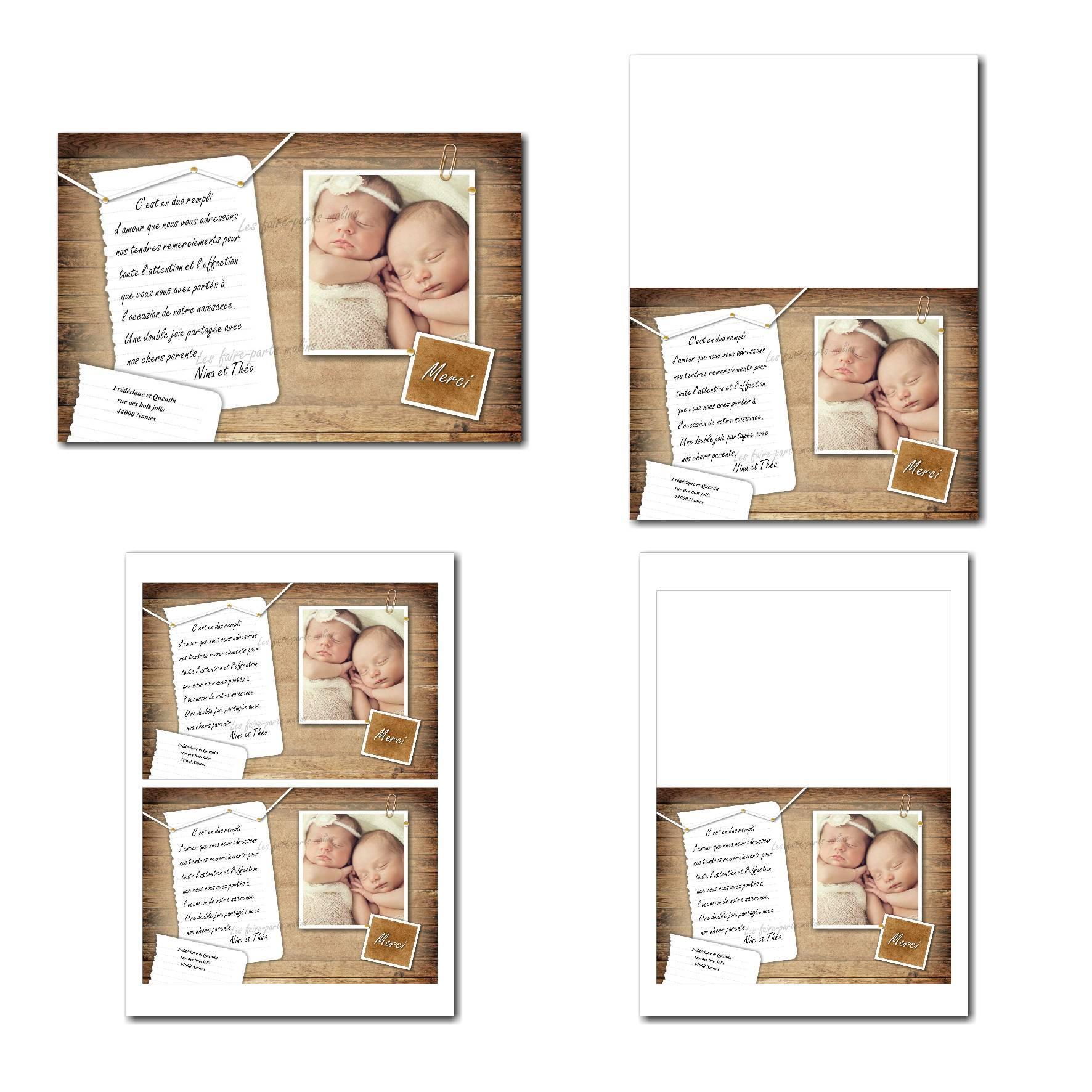 Carte de remerciements illimité bois et papier