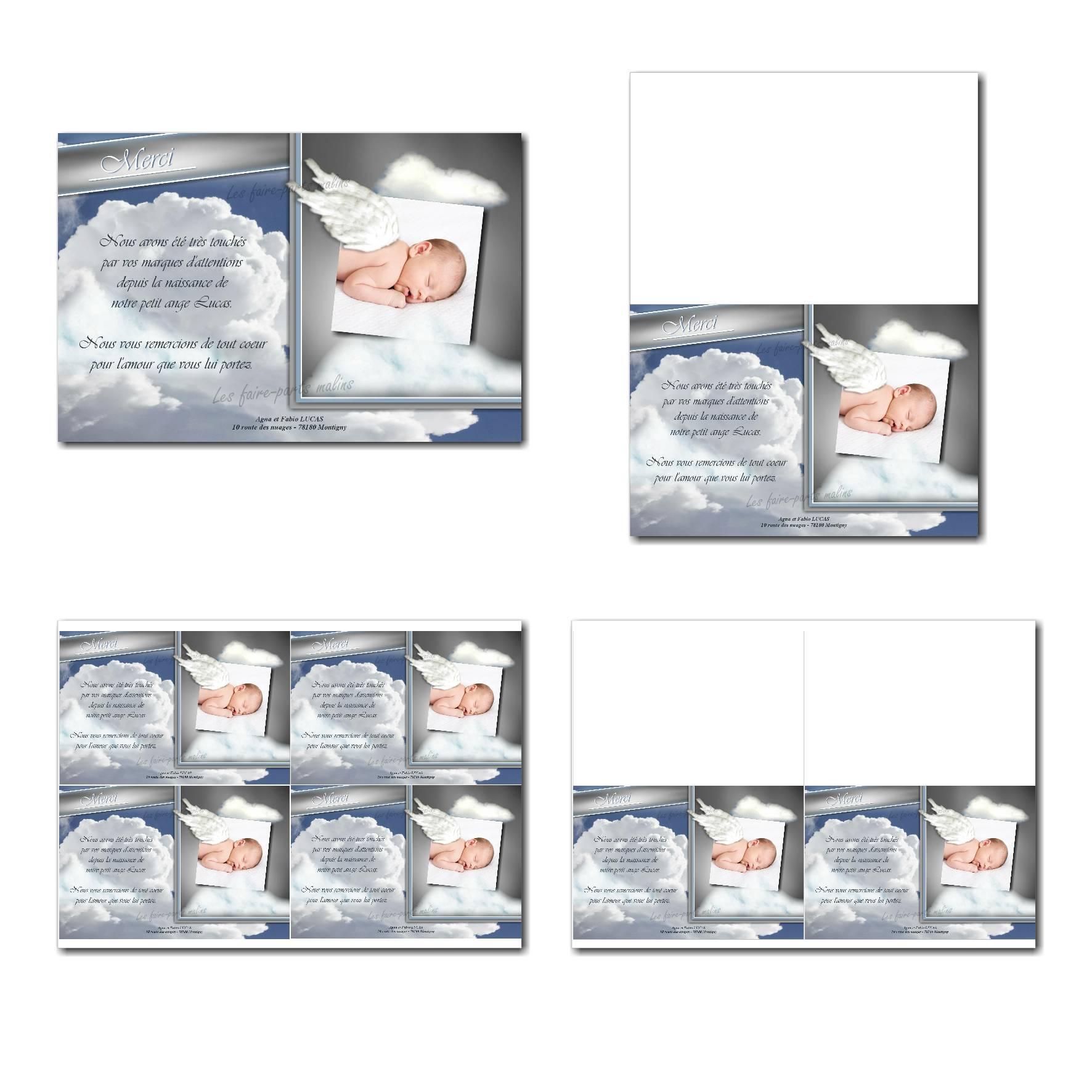 Carte de remerciements à imprimer avec fond de nuage et bébé ange