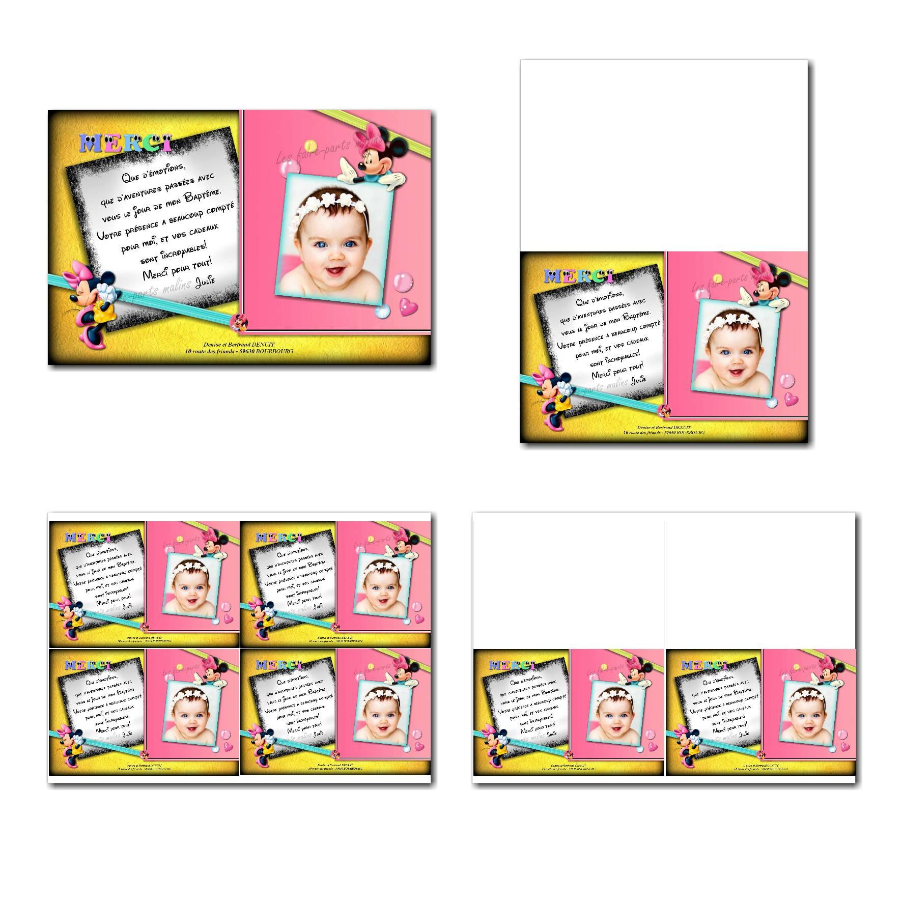 carte de remerciements prêt à imprimer rose et noir Minnie