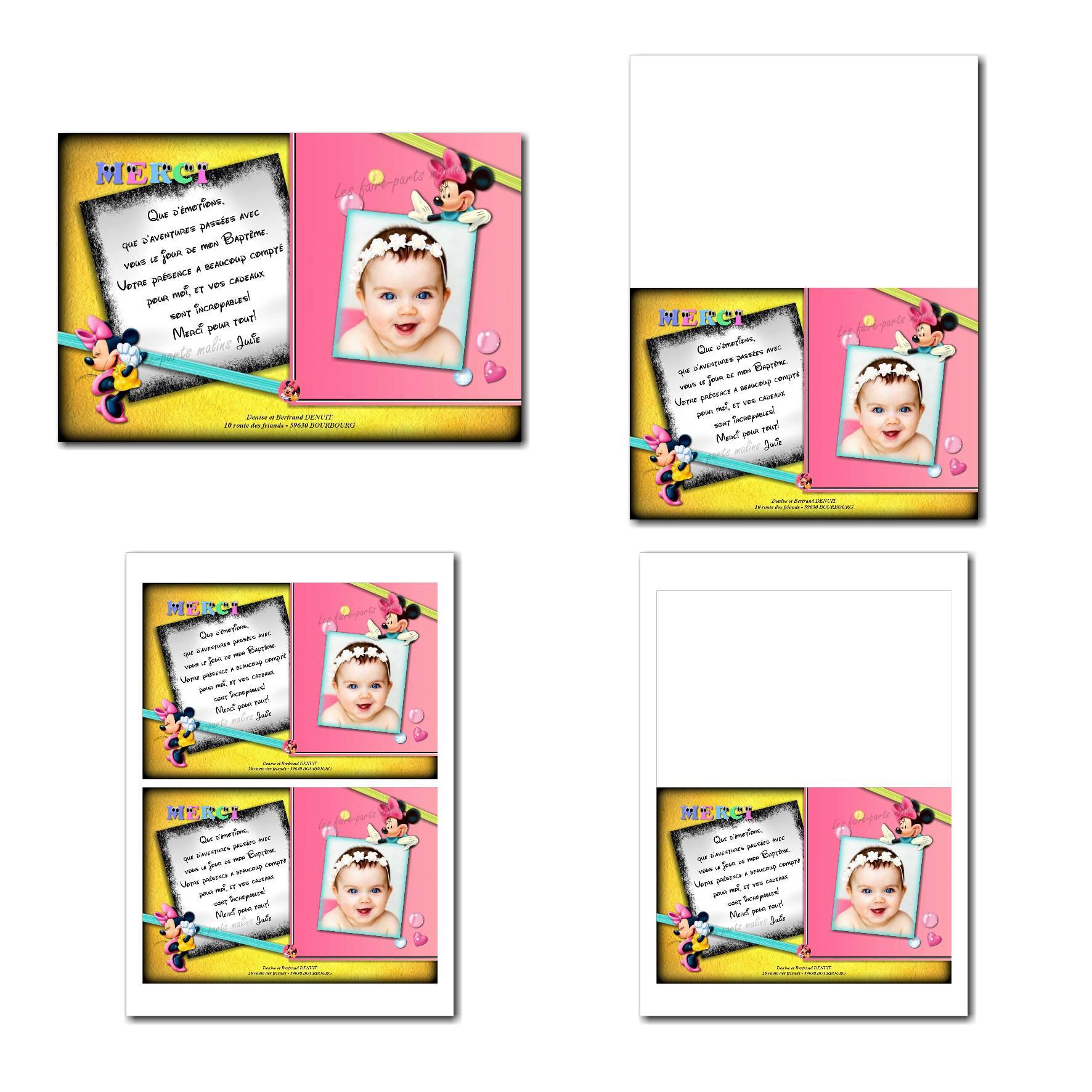 Carte de remerciements à imprimer Minnie la souris