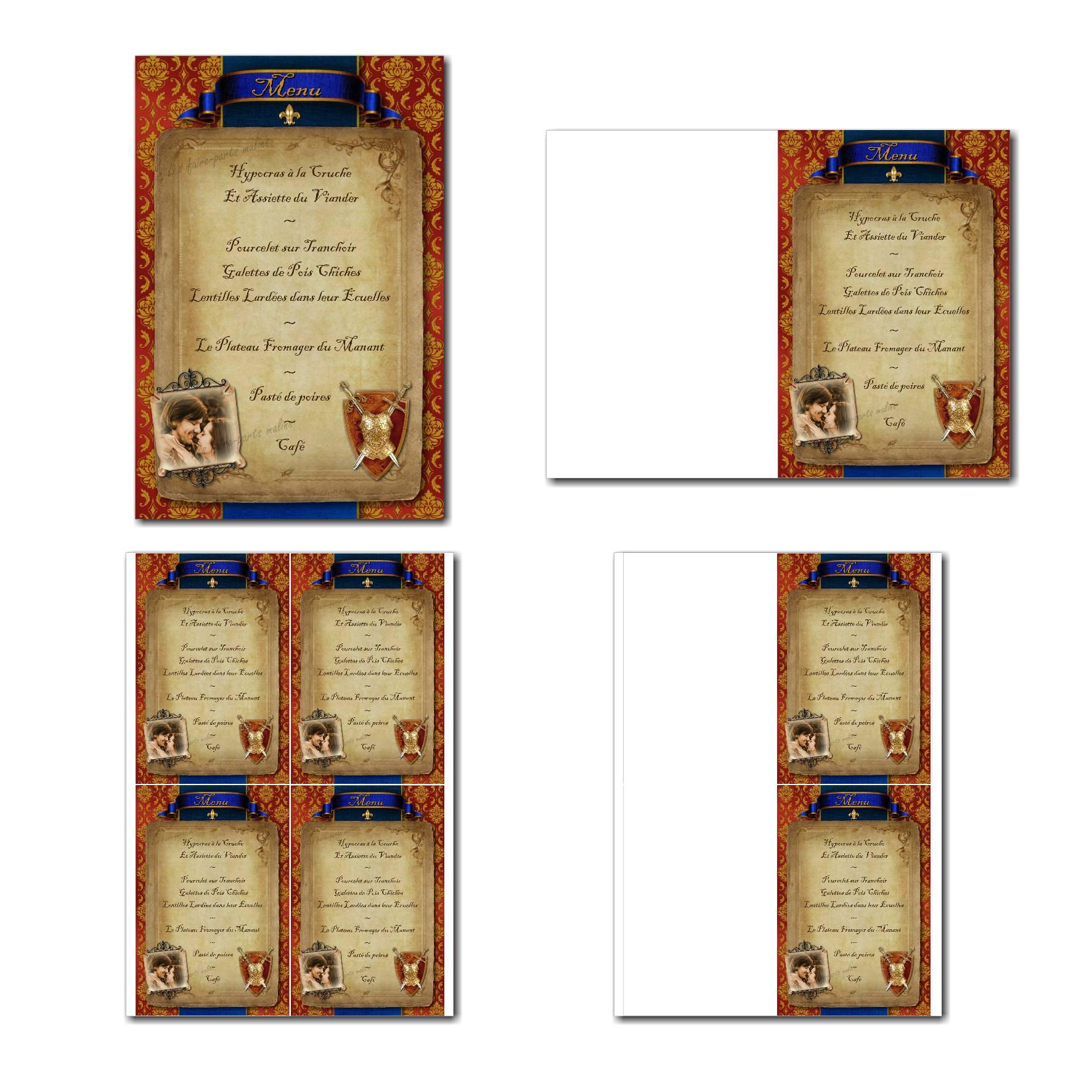 Carte de menu à imprimer messager médiéval