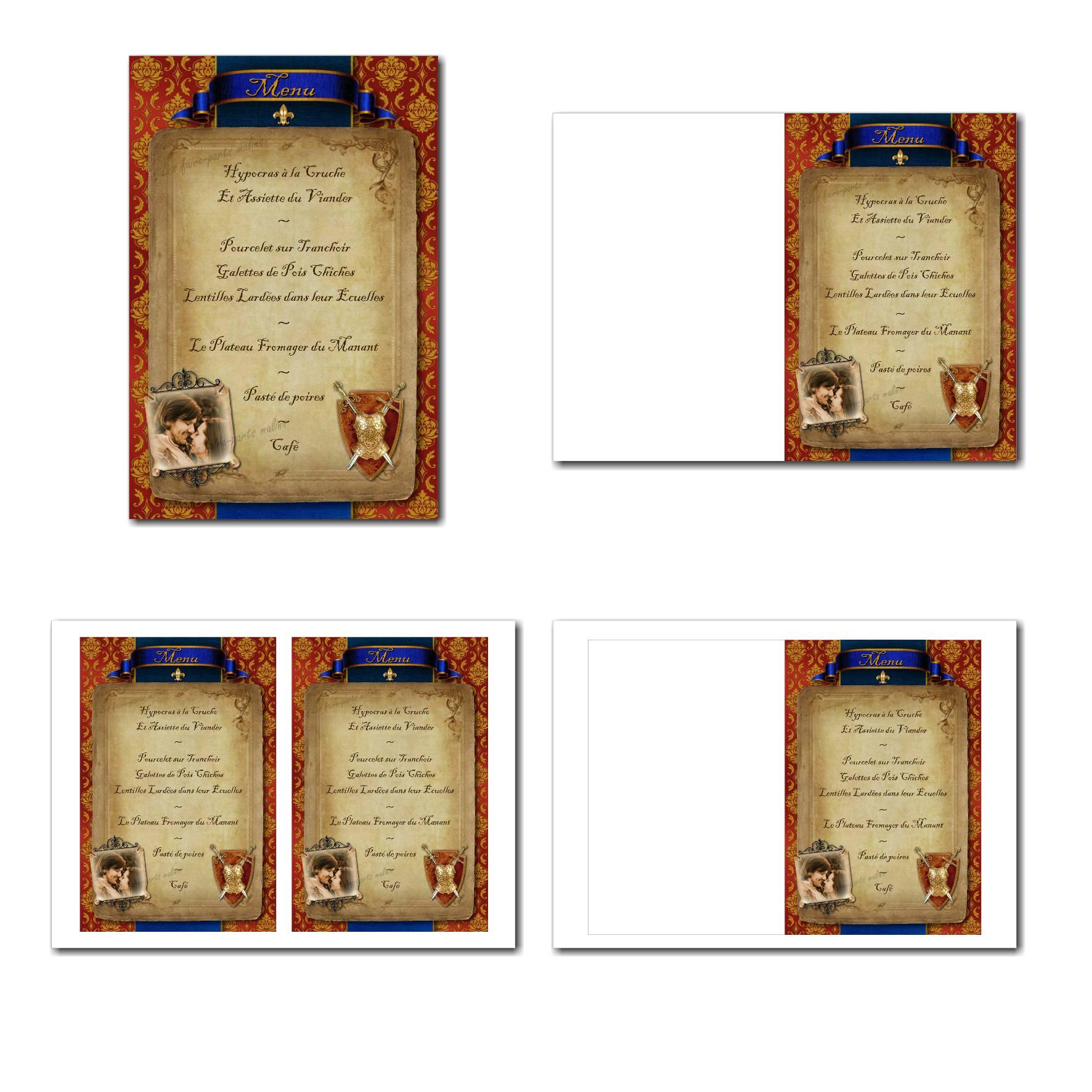 Carte de menu illimité avec armure médiévale