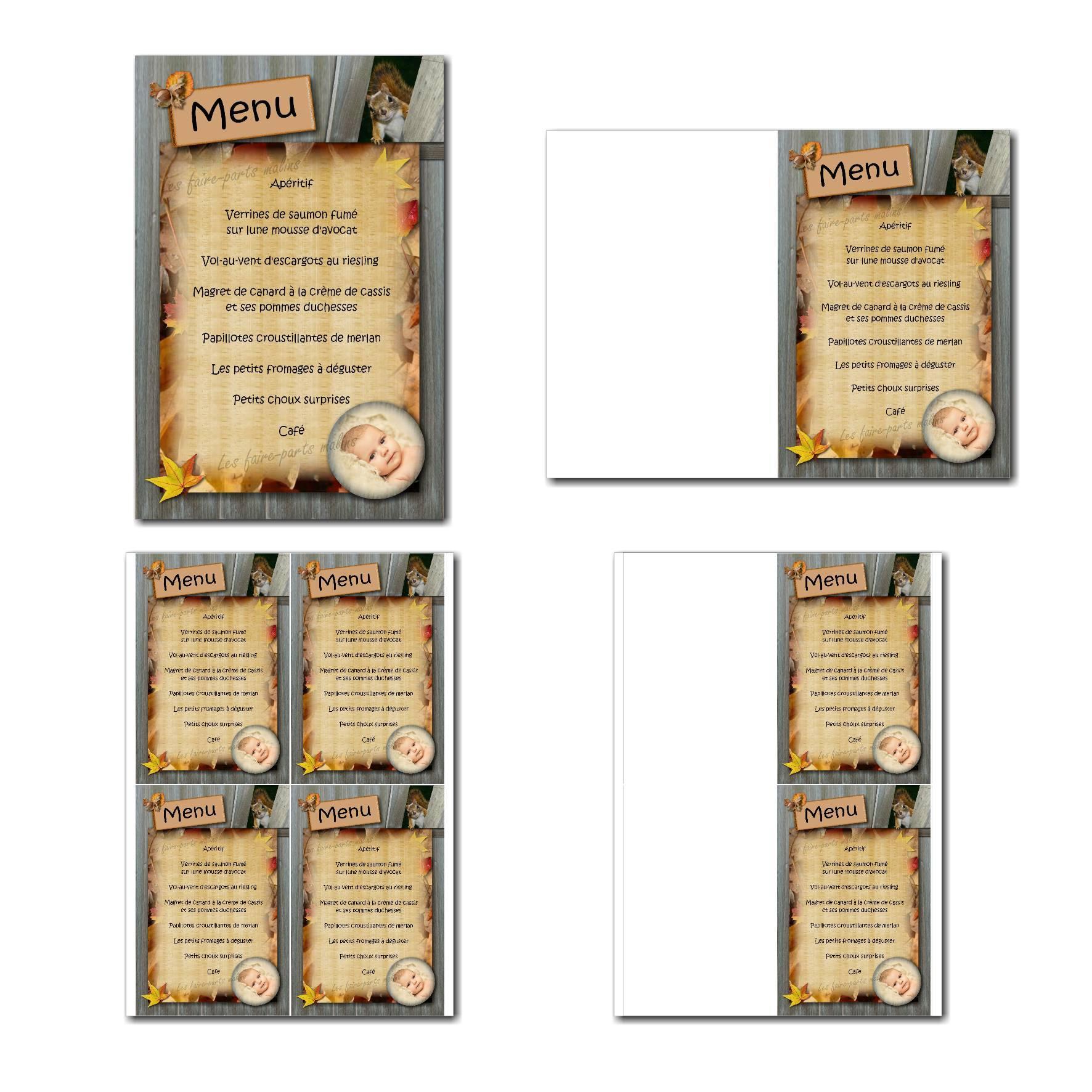 Carte de menu à imprimer avec écureuil et planches de bois