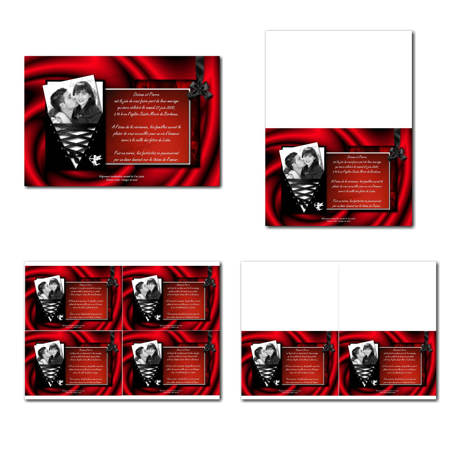 Faire-part à imprimer passion en rouge et noir