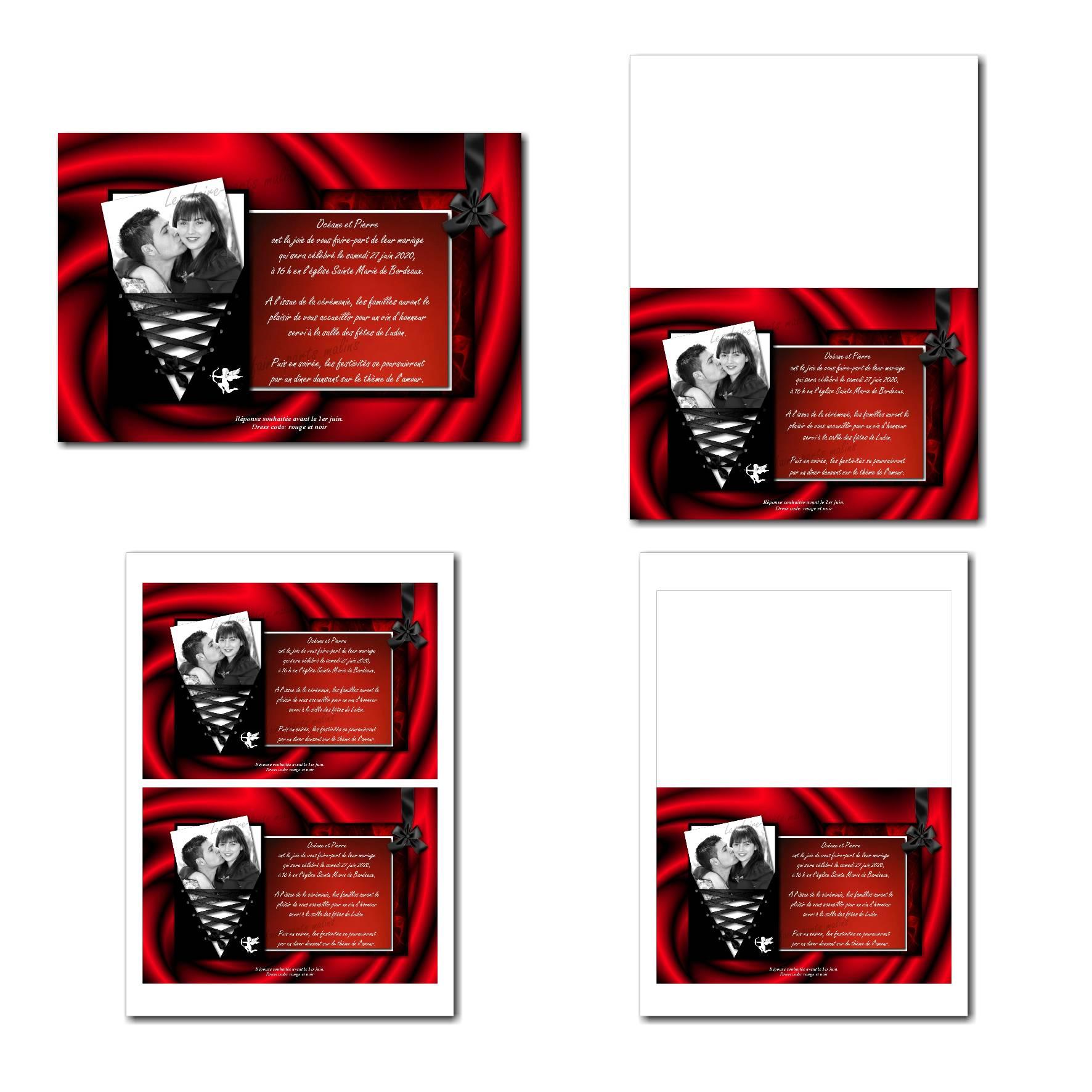 faire part illimité rouge passion et noir glamour