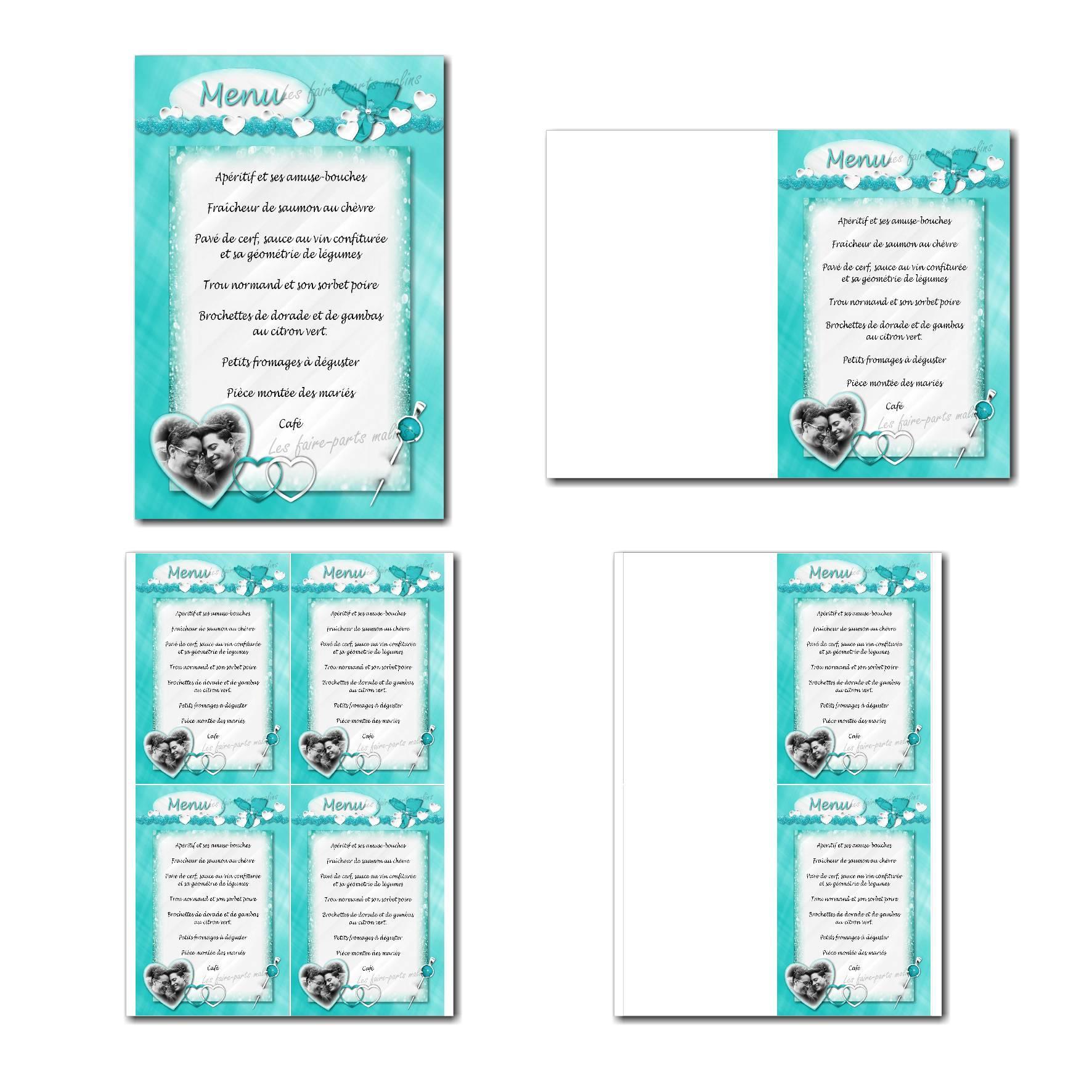Carte de menu à imprimer avec coeur en turquoise clair