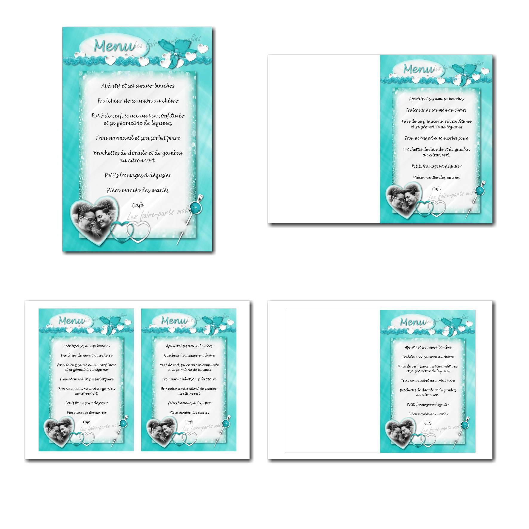 Carte de menu illimité en turquoise et blanc avec petits coeurs