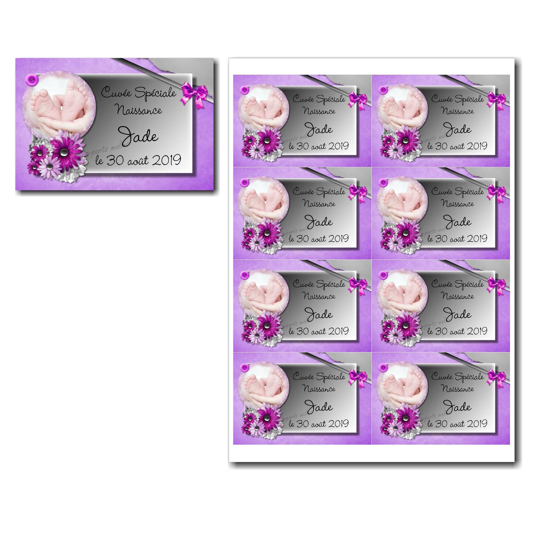 Etiquette bouteille à imprimer violet et gris avec jolies fleurs