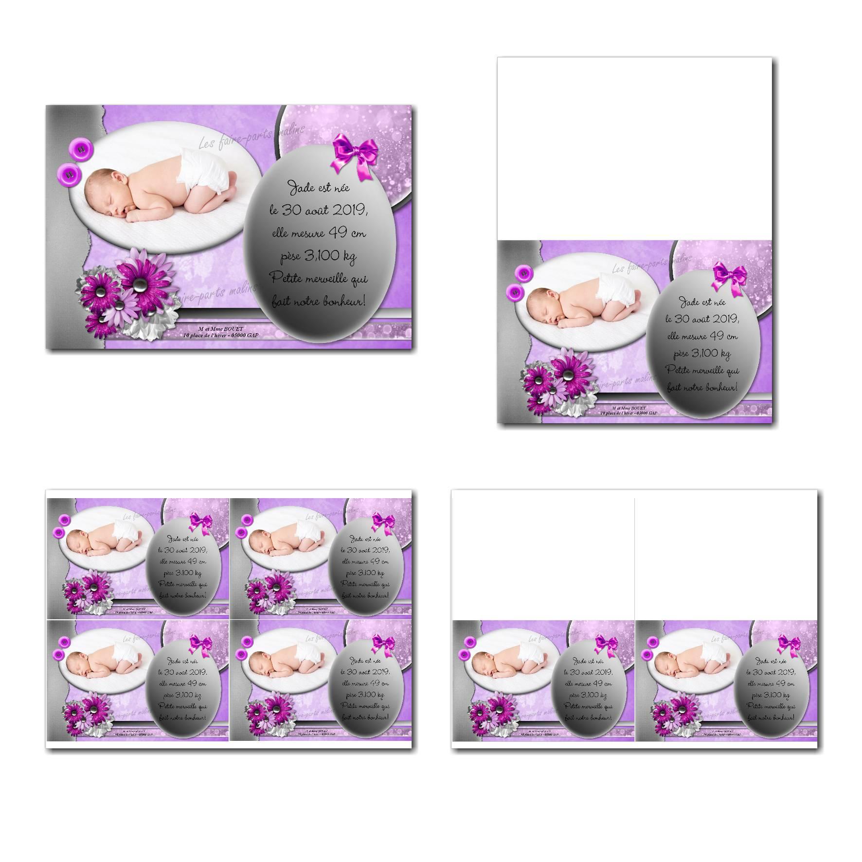 faire-part à imprimer violet et gris