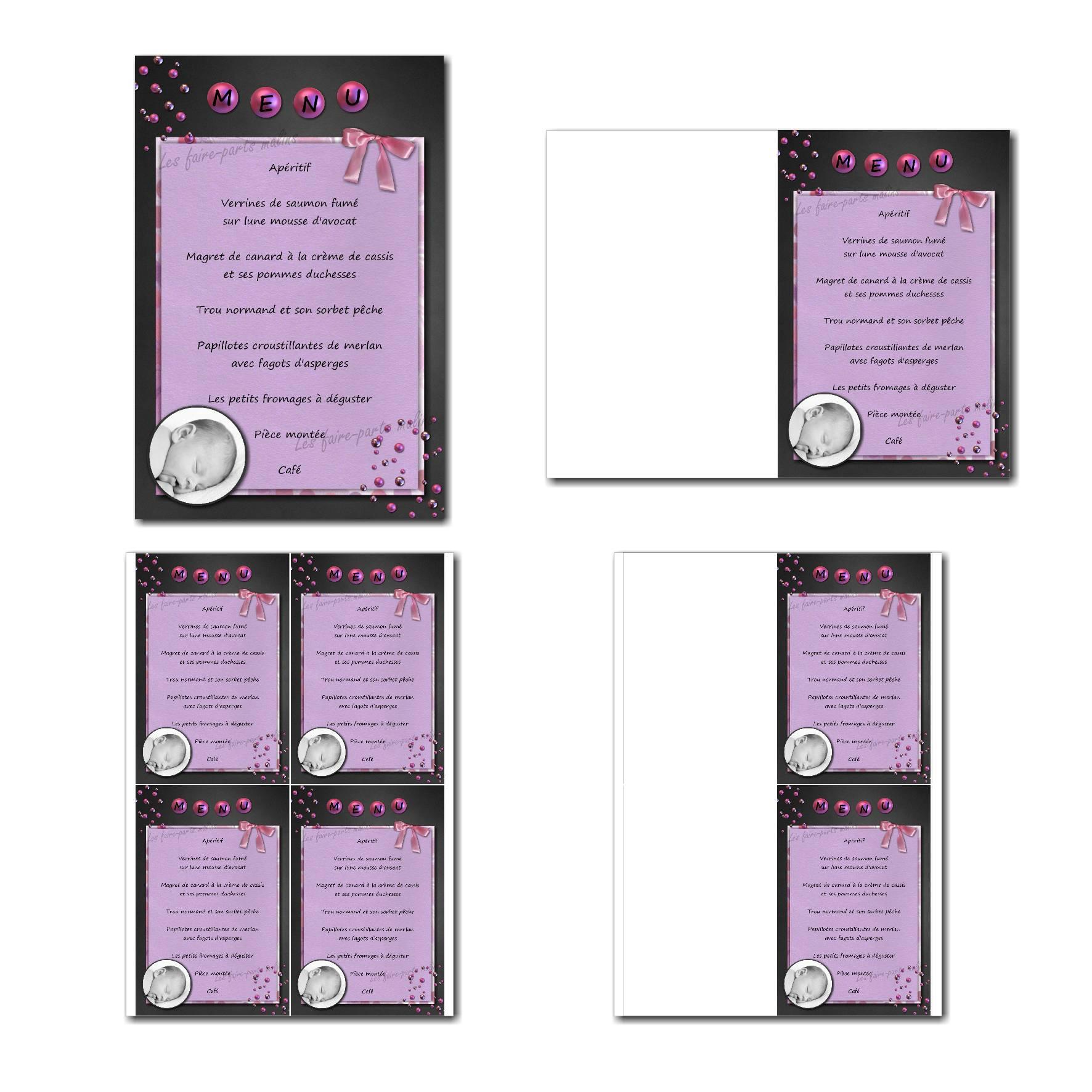 carte de menu prêt à imprimer gris et violet pour baptême fille