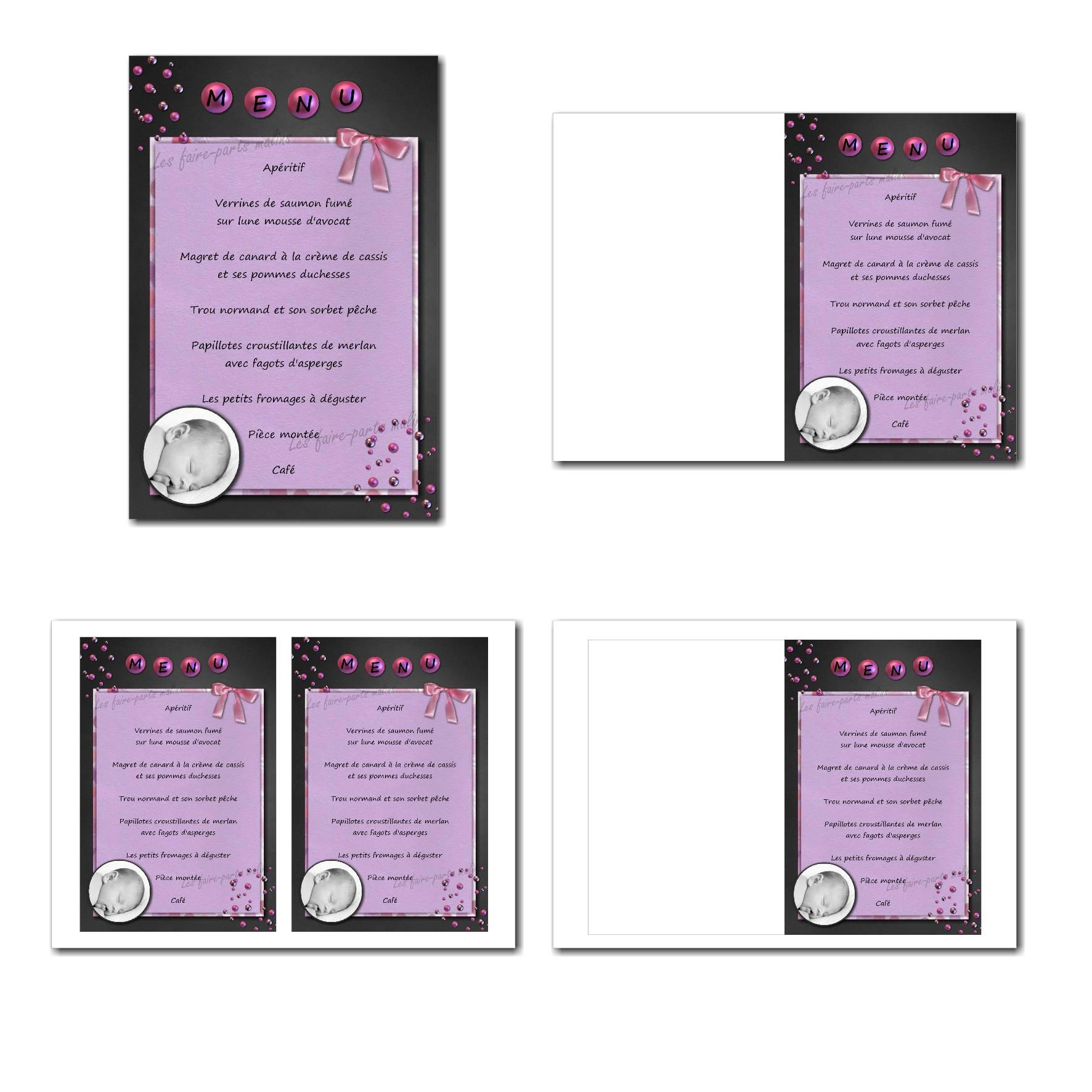 carte de menu illimité pour fille avec photo