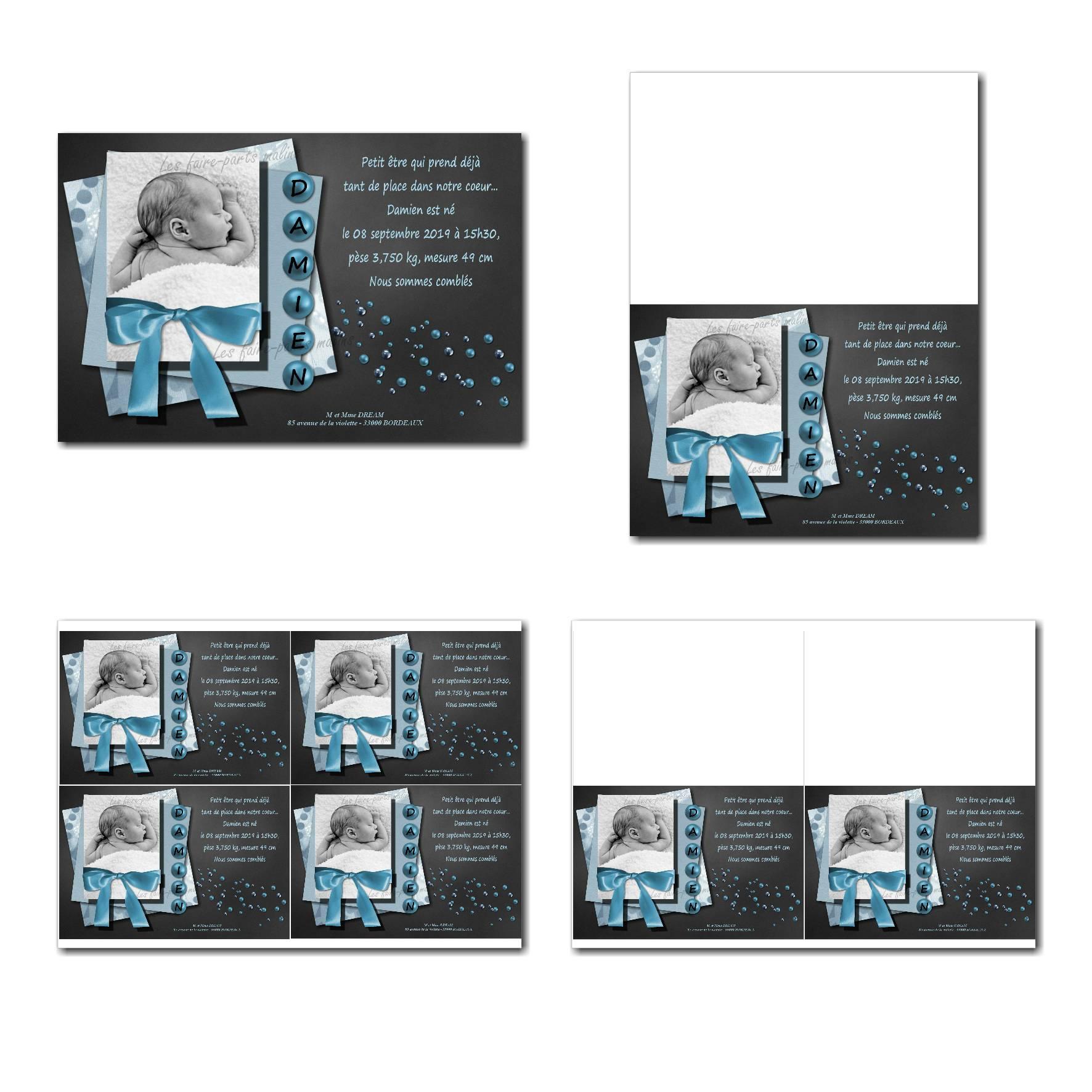 faire-part à imprimer bleu et gris foncé avec ruban autour de la photo