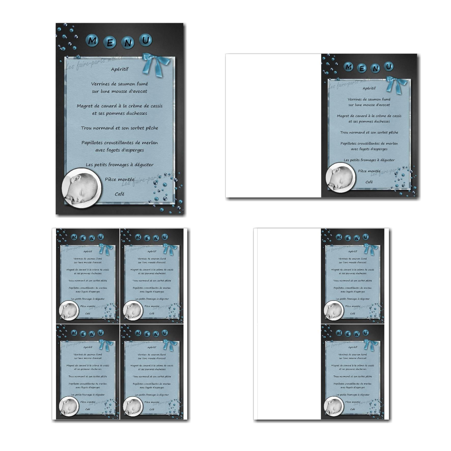 Carte de menu prêt à imprimer gris et bleu avec photo