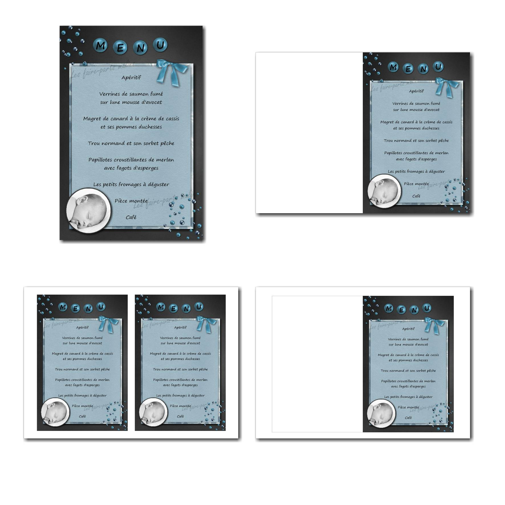 Carte de menu illimité bleu et gris avec perles à personnaliser