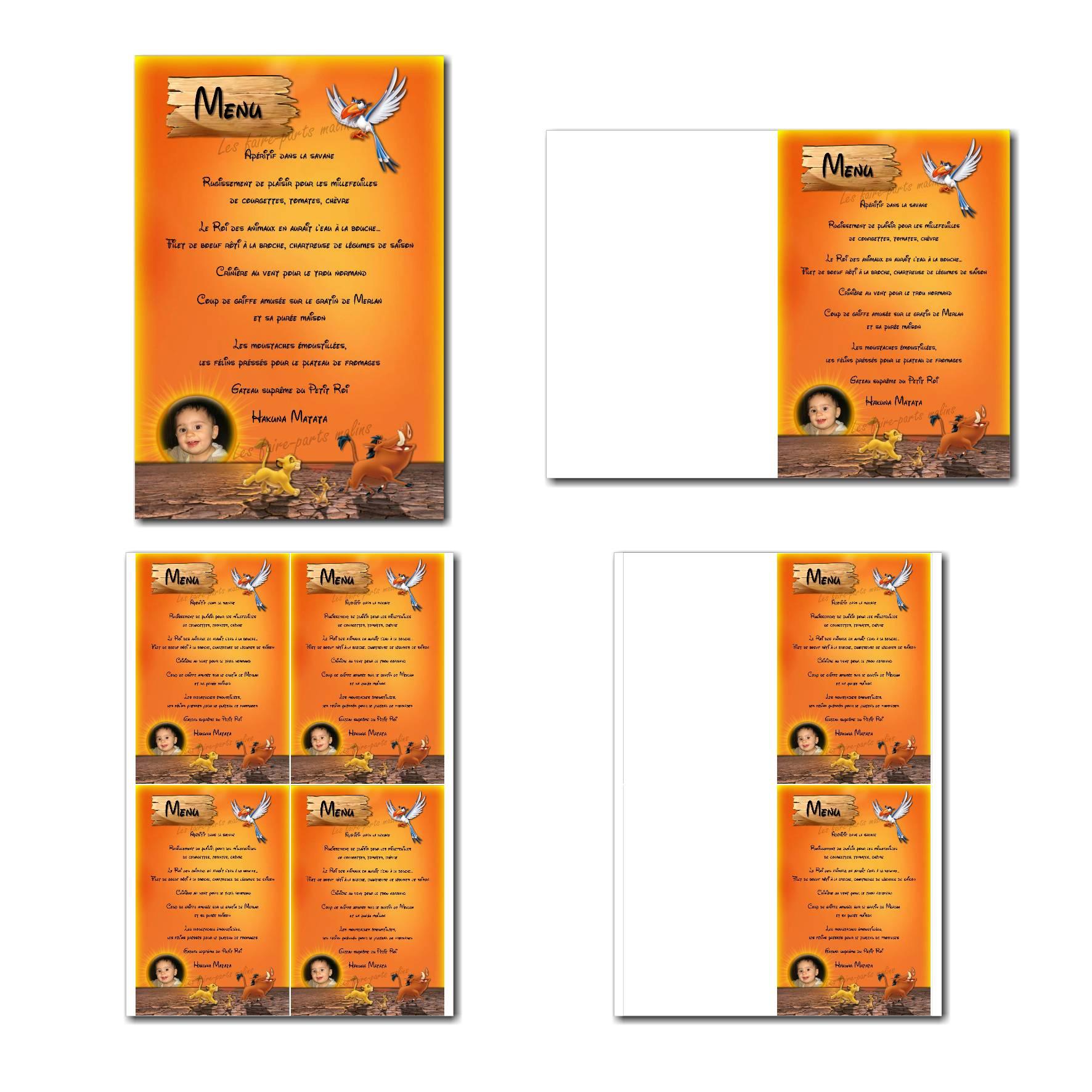Carte de menu à imprimer simba avec pumba et timon