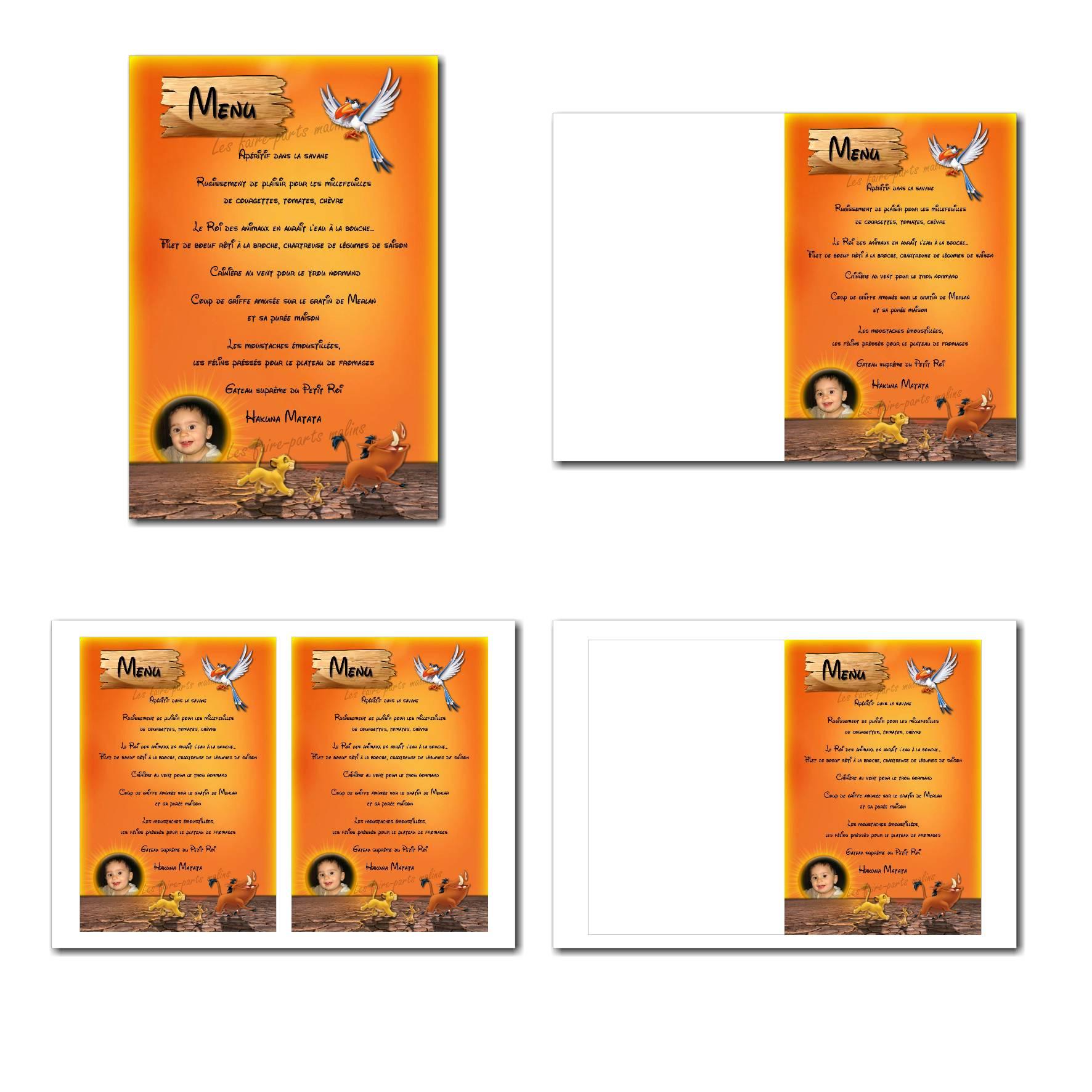 Carte de menu illimité avec oiseau du roi lion