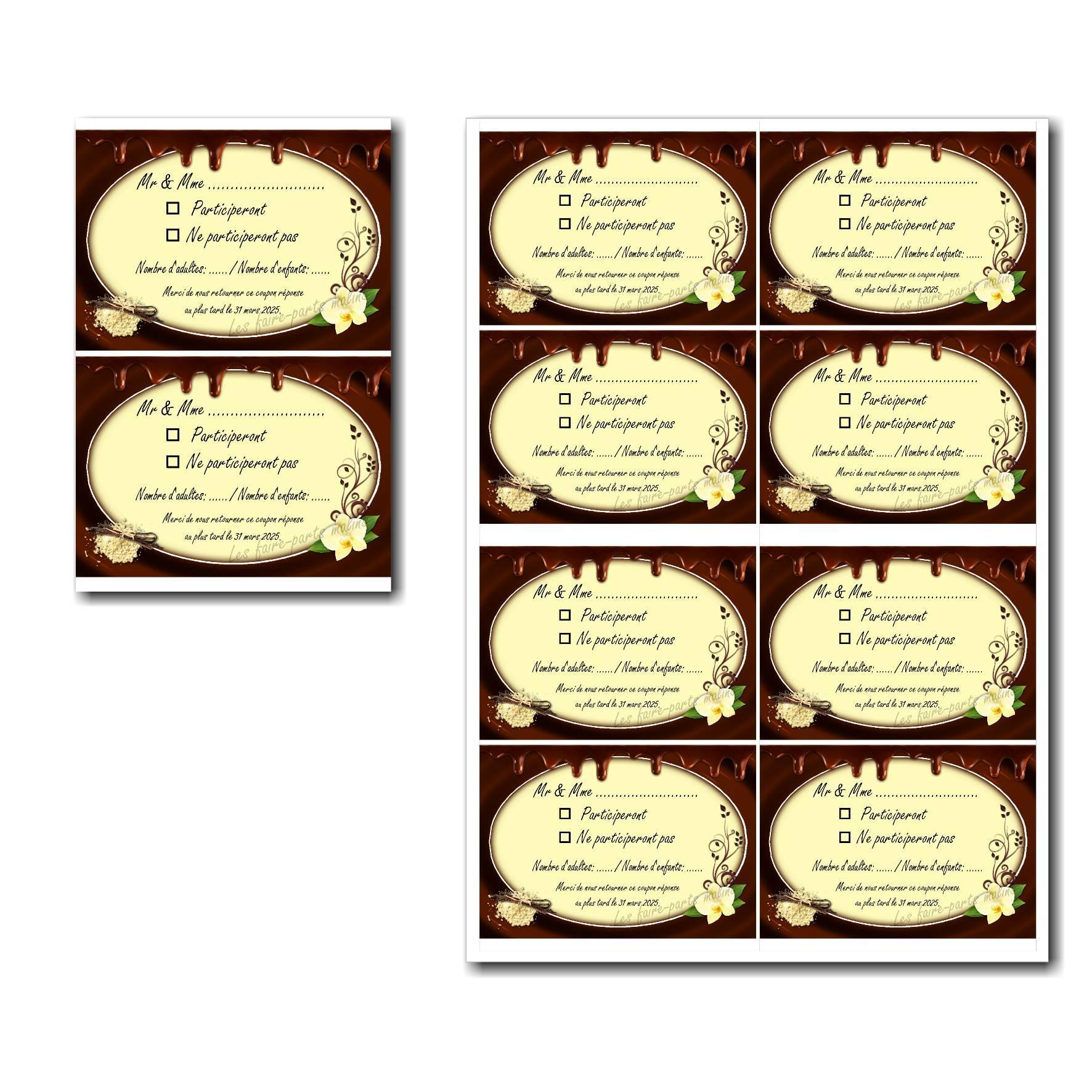 Coupon réponse à imprimer chocolat et fleur de vanille