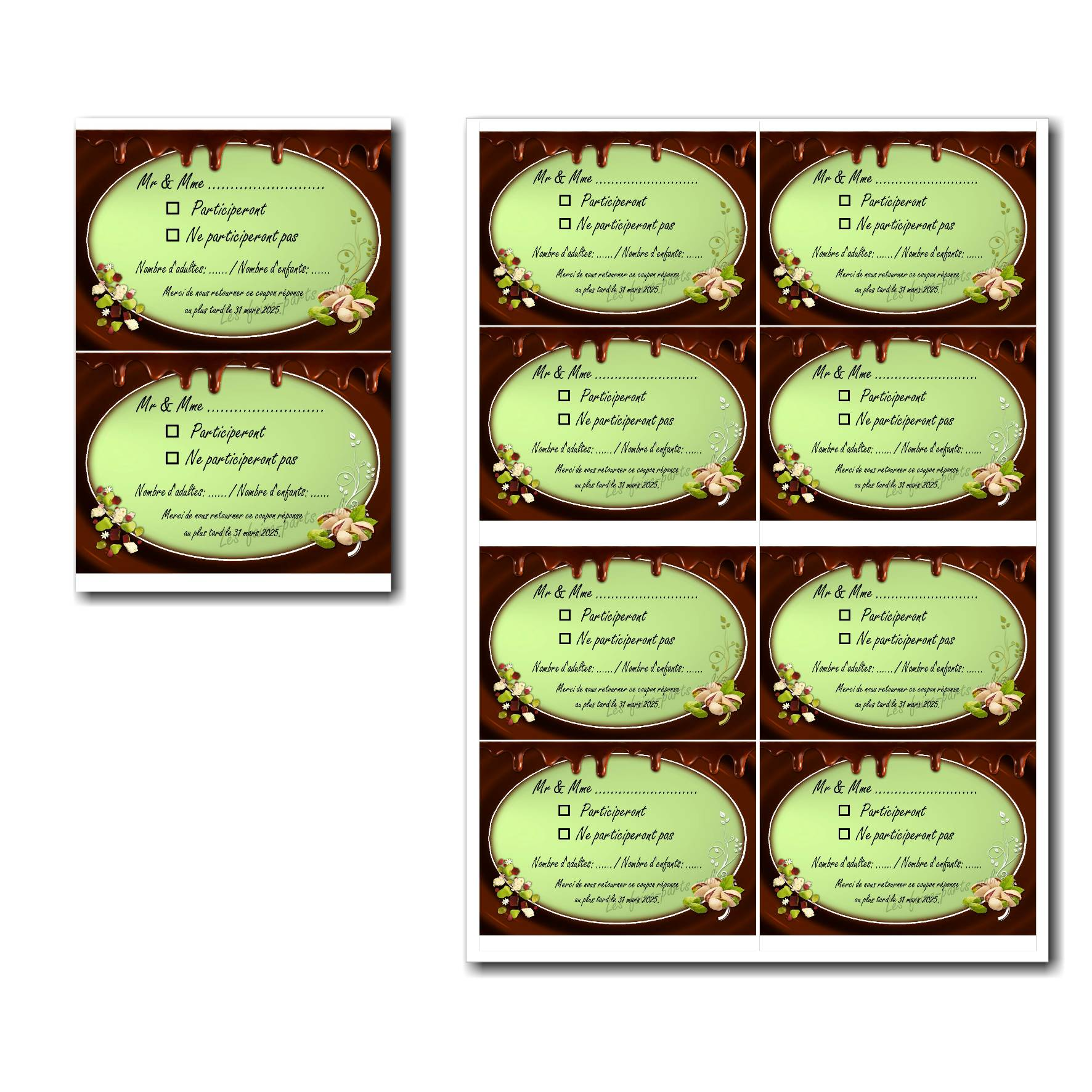 Coupon réponse à imprimer chocolat et pistache