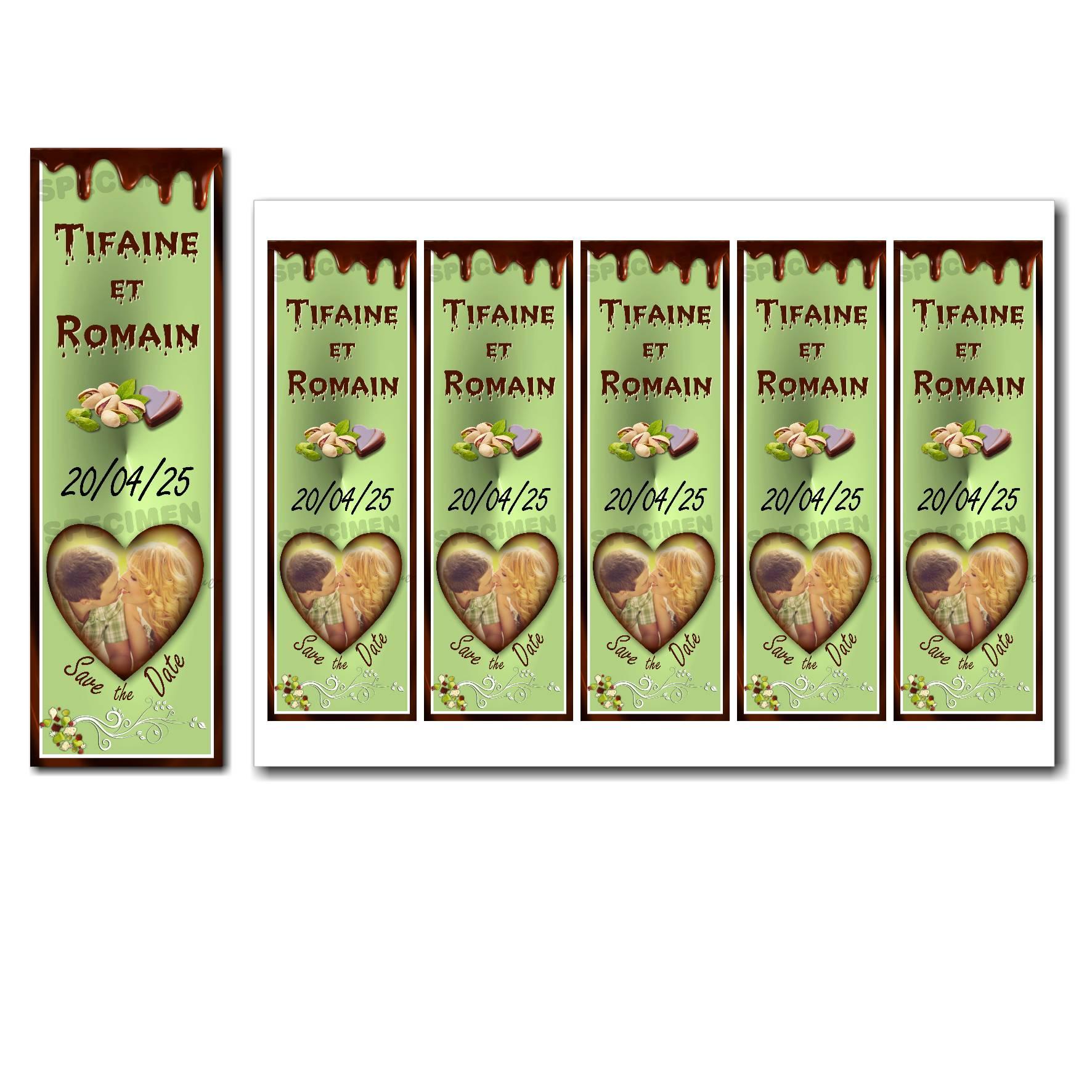 Save the date à imprimer duo pistache et chocolat