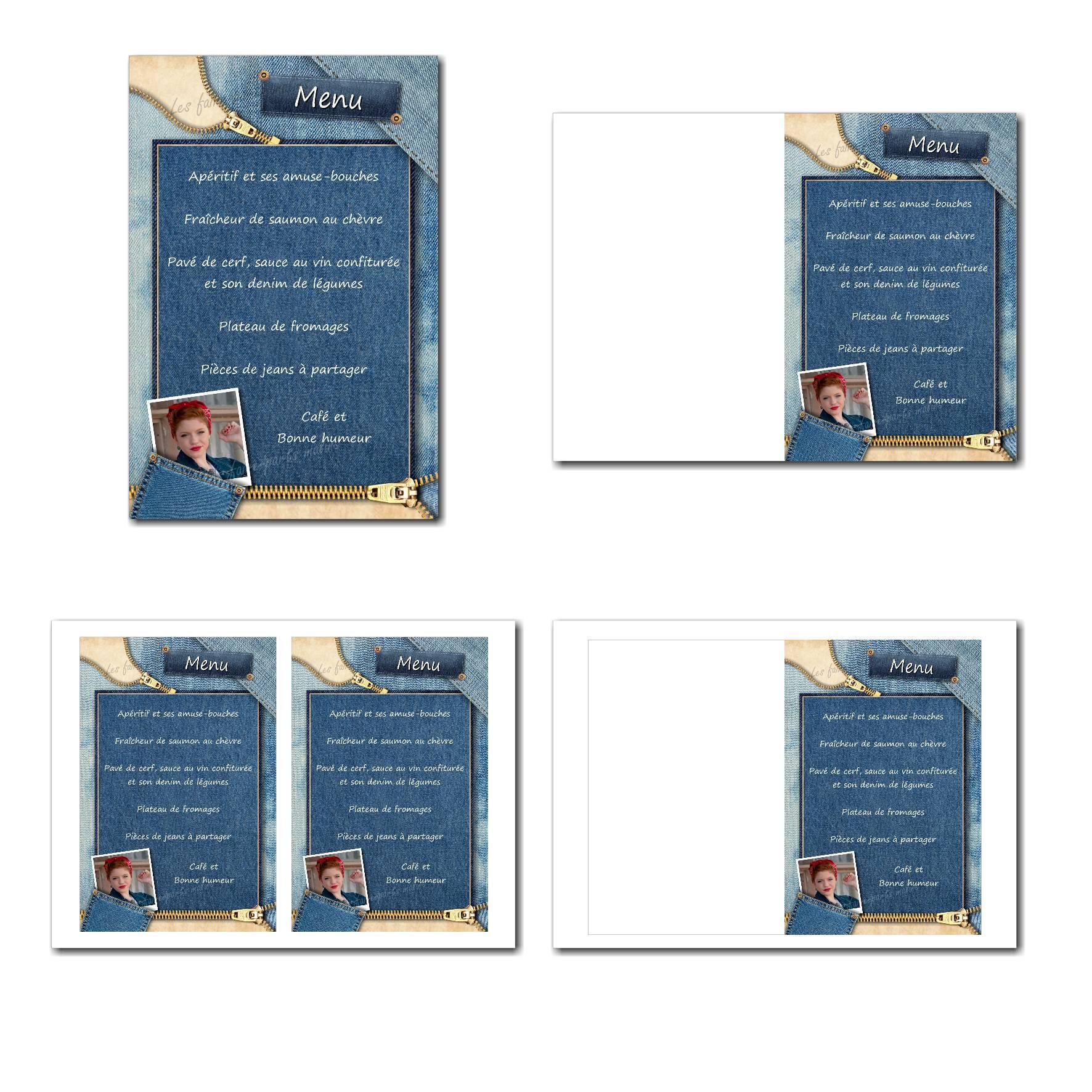 Carte de menu illimité jean bleu