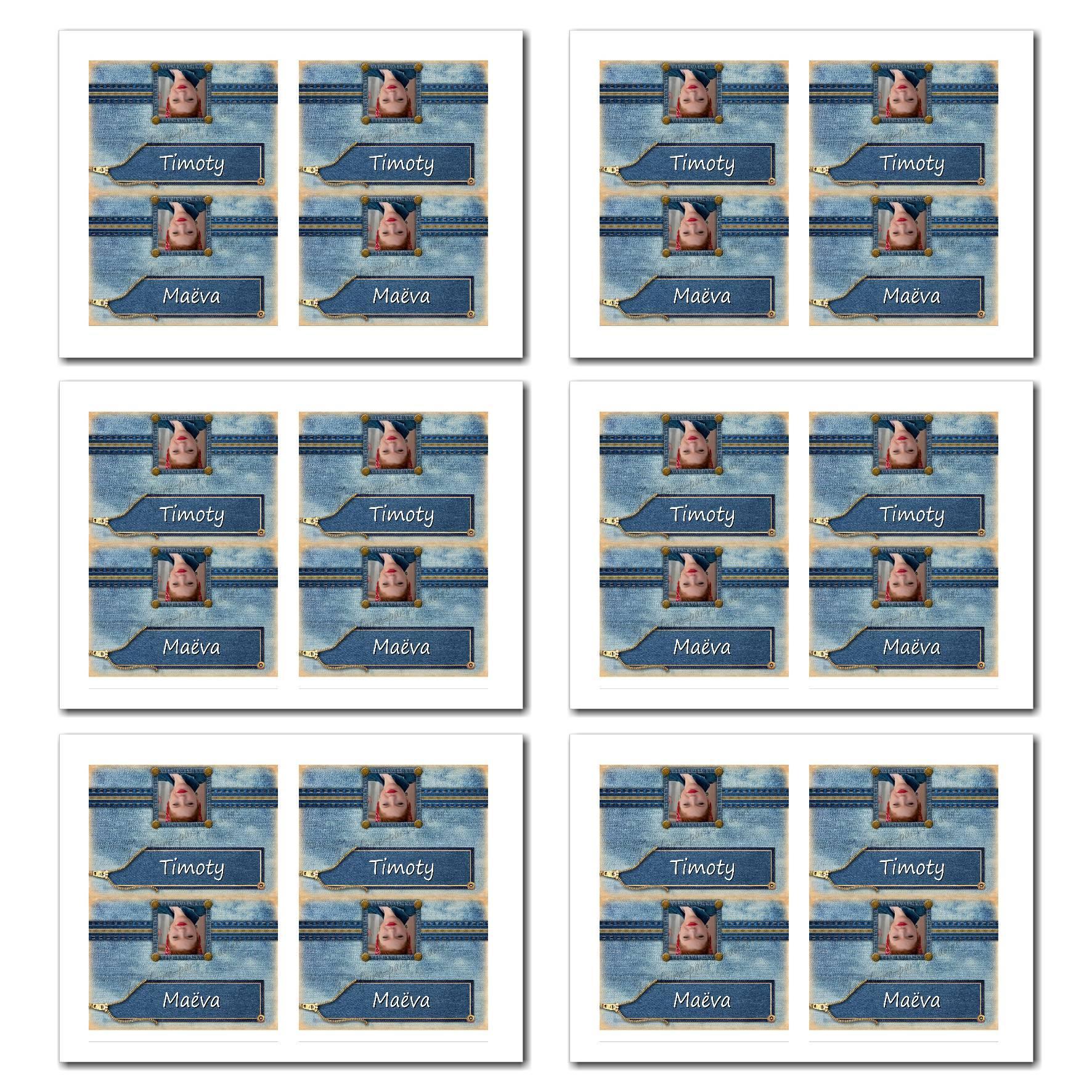 Marque-places avec photo à imprimer thème du jeans