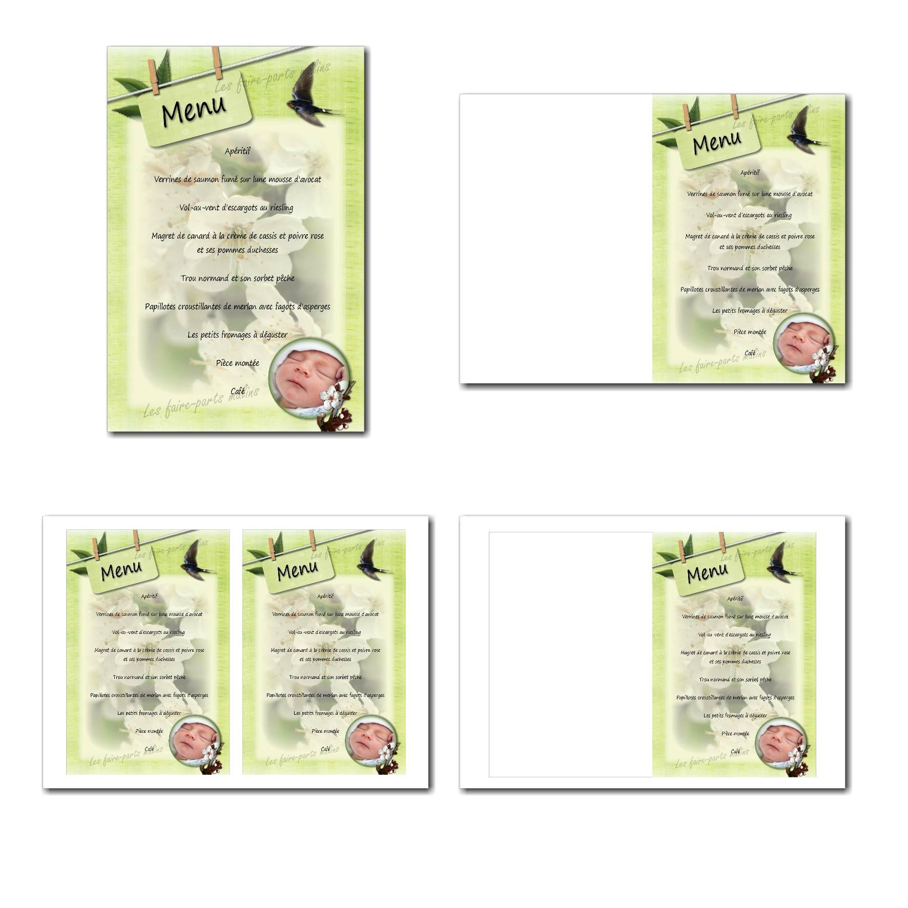 Carte de menu illimité avec fleurs de printemps sur fond vert clair