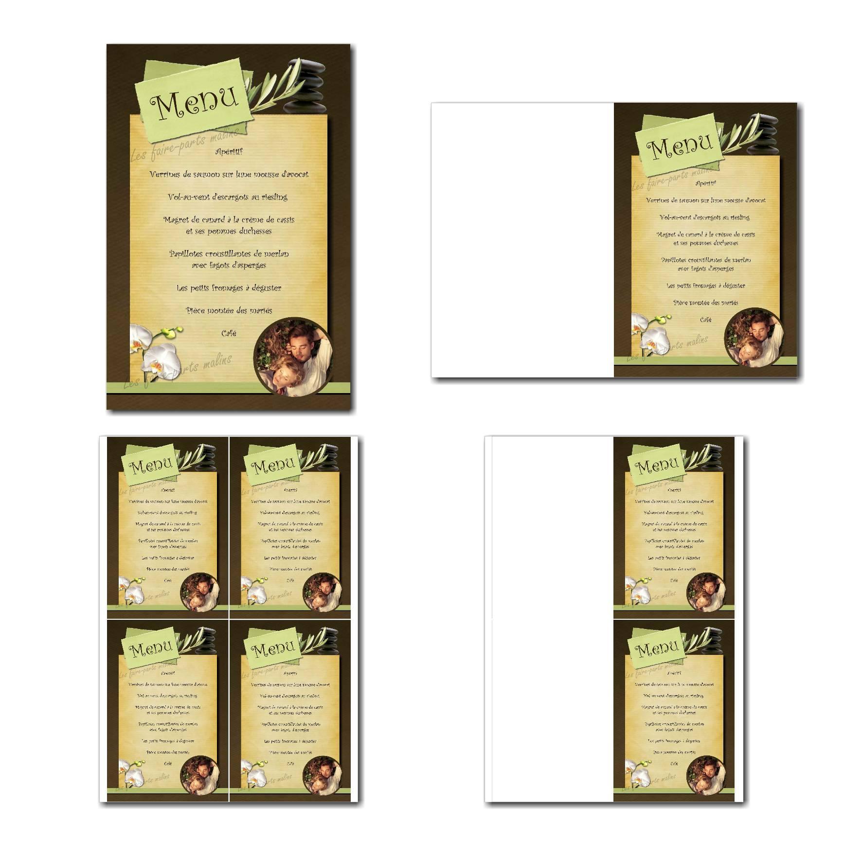 Carte de menu à imprimer zen avec fleur d'orchidées blanches