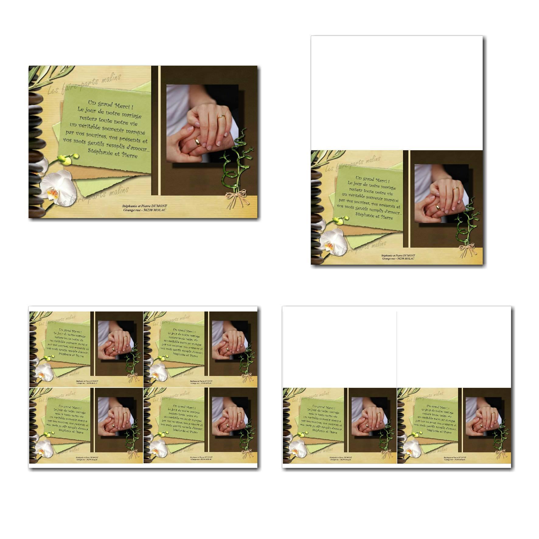 Carte de remerciements à imprimer en marron et vert avec galets zen