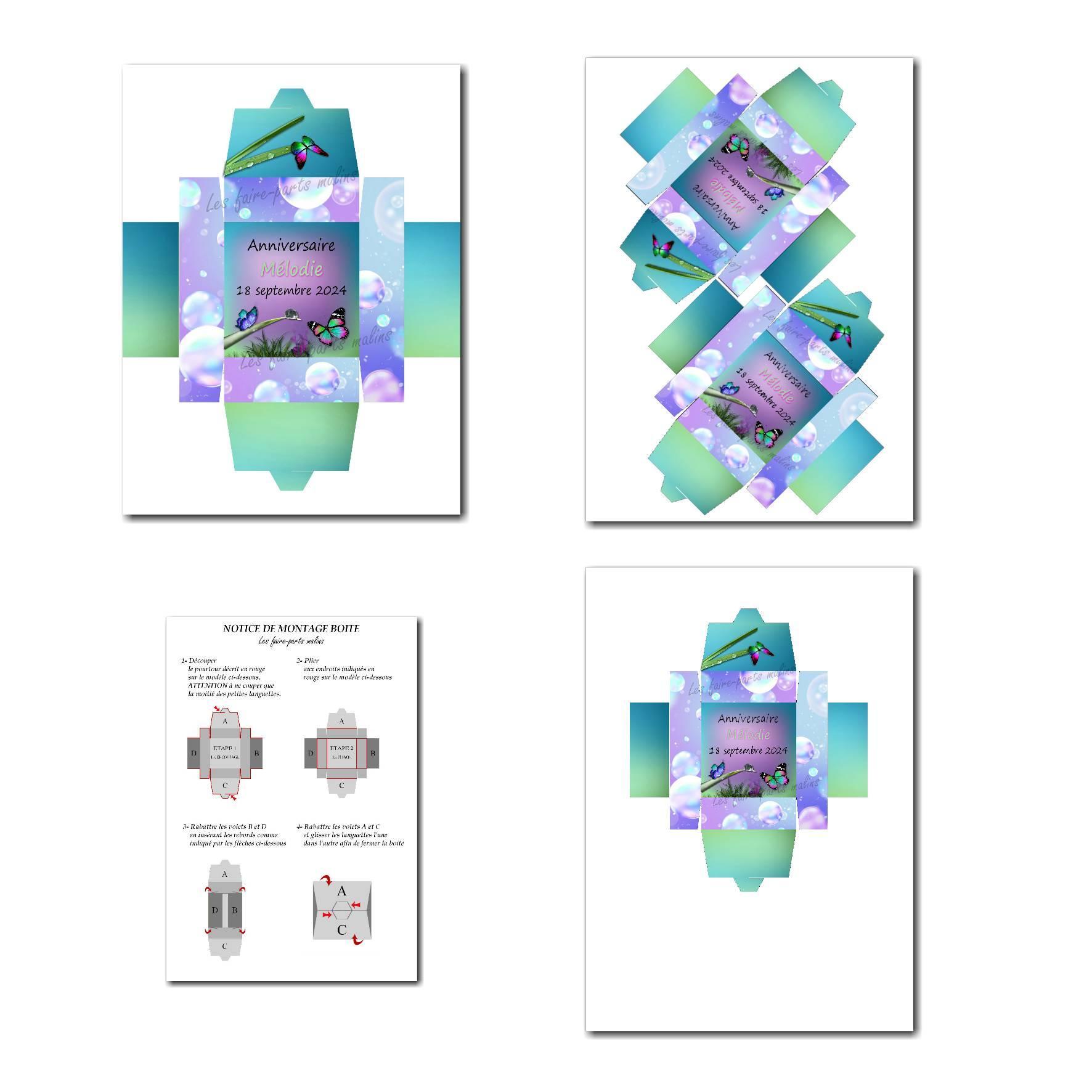 Boite à imprimer papillon bleu et violet