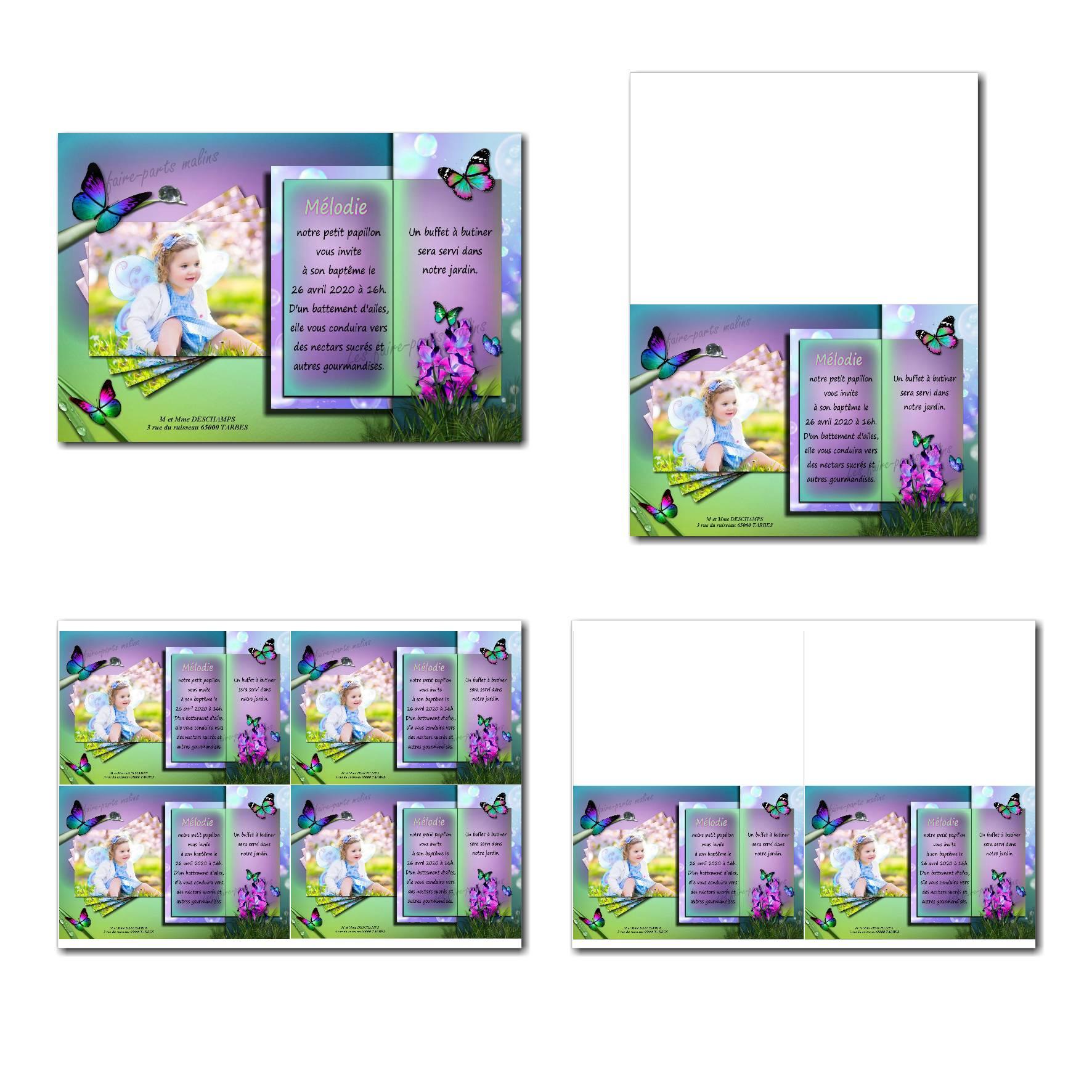 faire-part à imprimer papillon vert et violet
