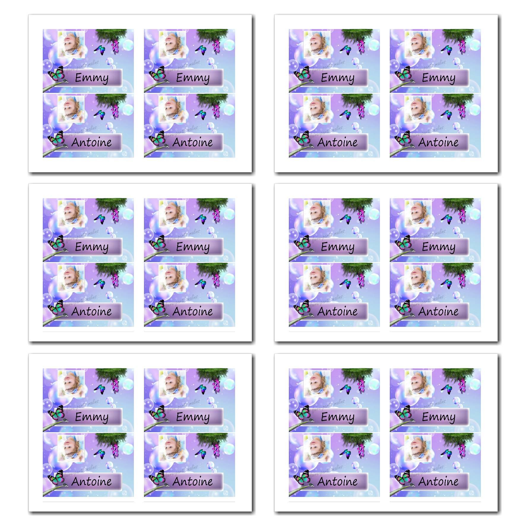 Marque-places illimité papillon violet et bleu