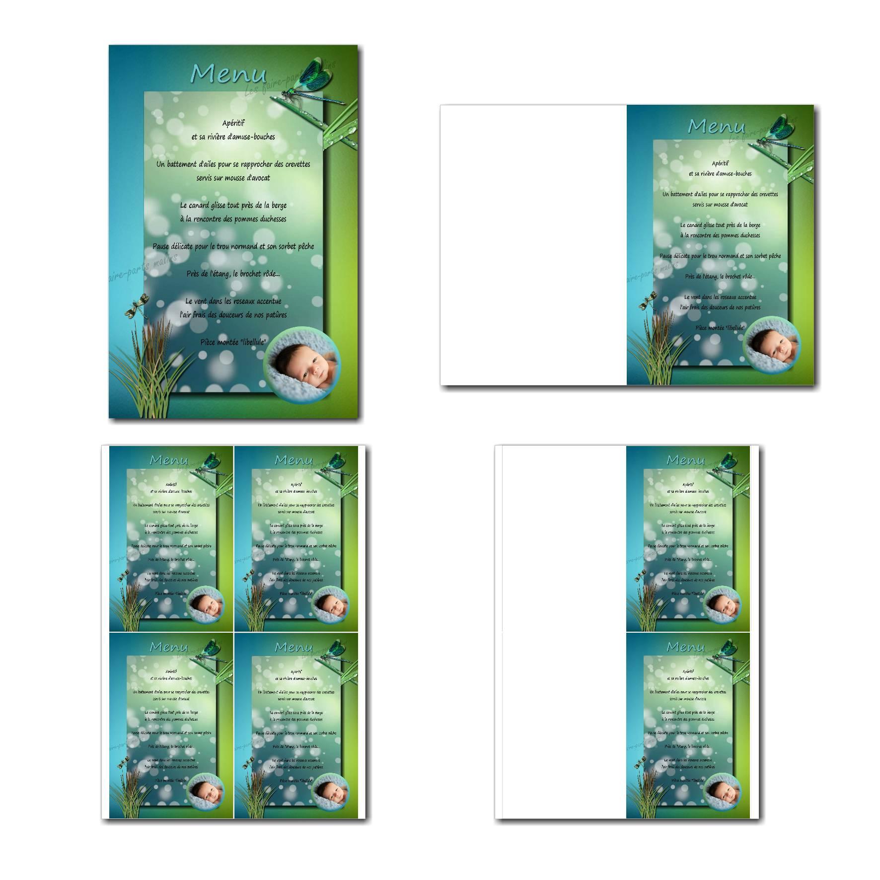 Carte de menu prêt à imprimer bleu et vert avec libellule