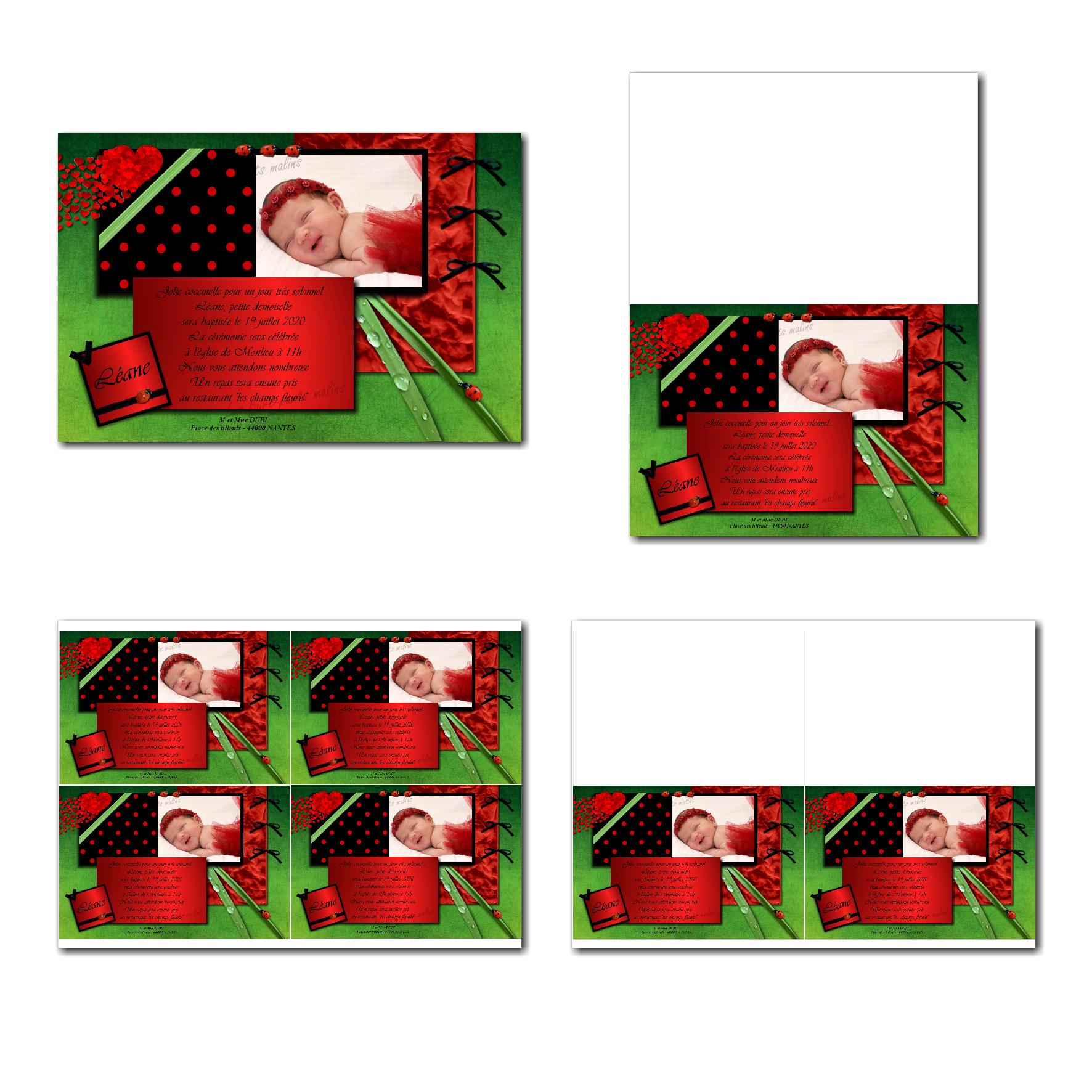 carte de remerciements prêt à imprimer noir et rouge coccinelle