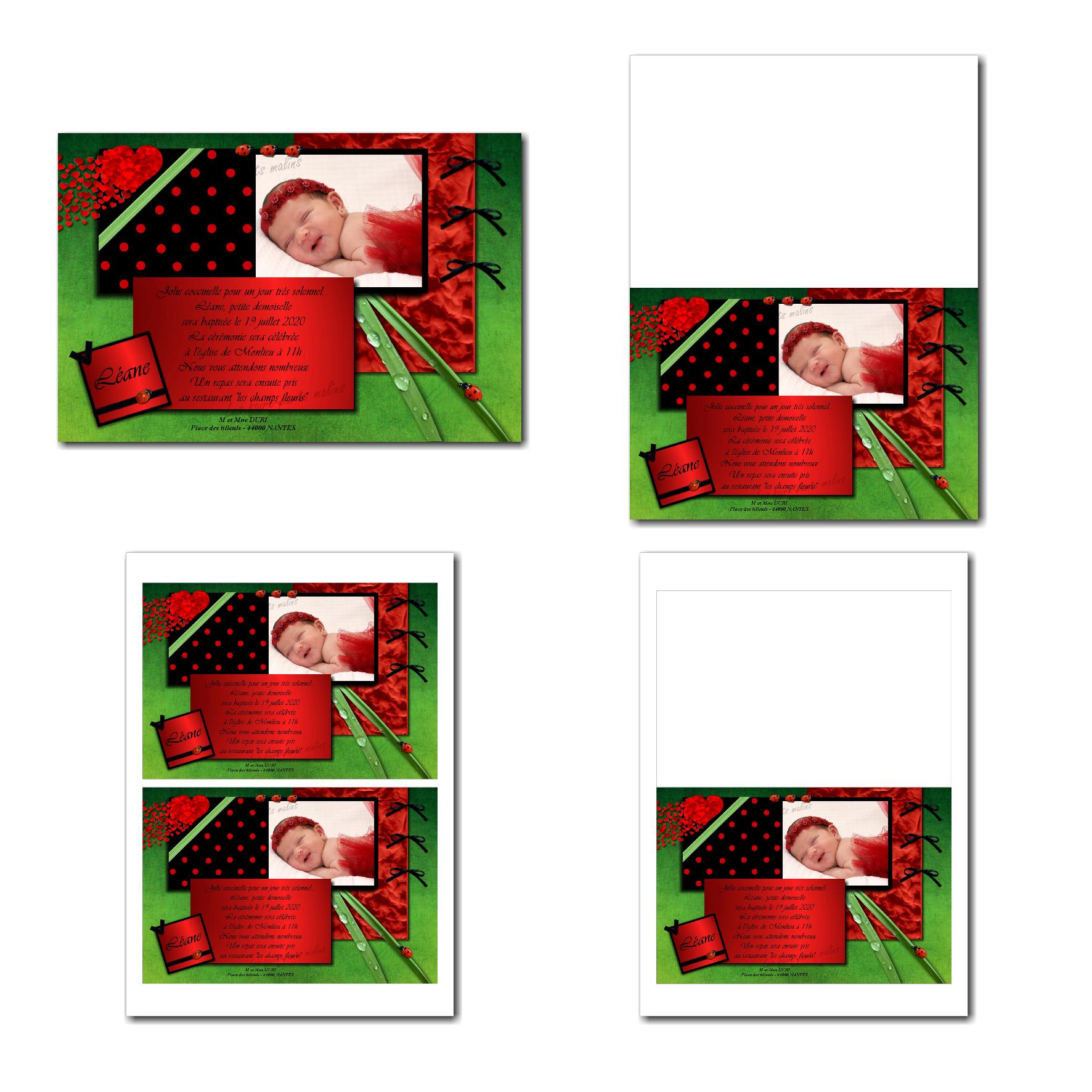 Carte de remerciements à imprimer noir et rouge à petits points avec coccinelle