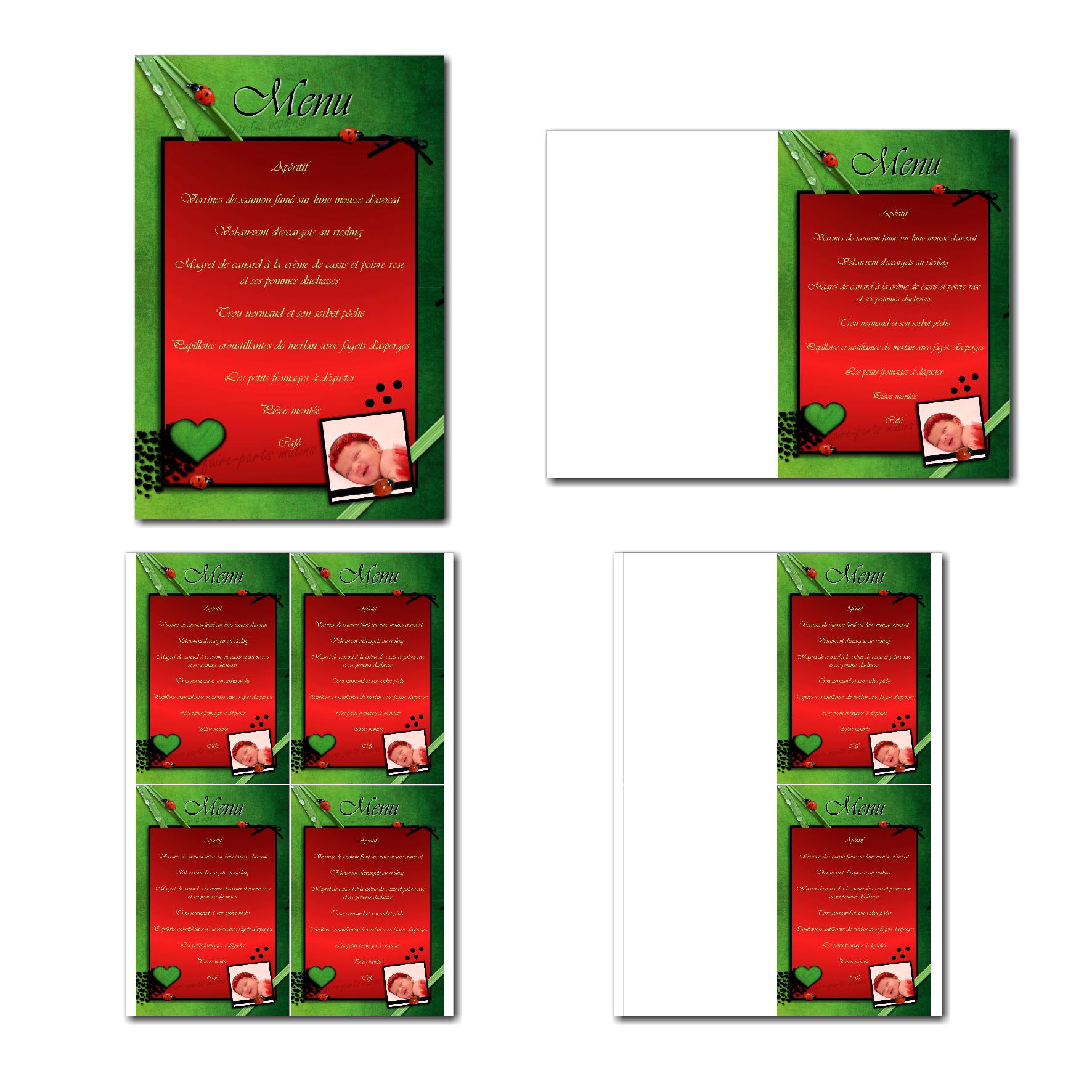 carte de menu prêt à imprimer thème coccinelle