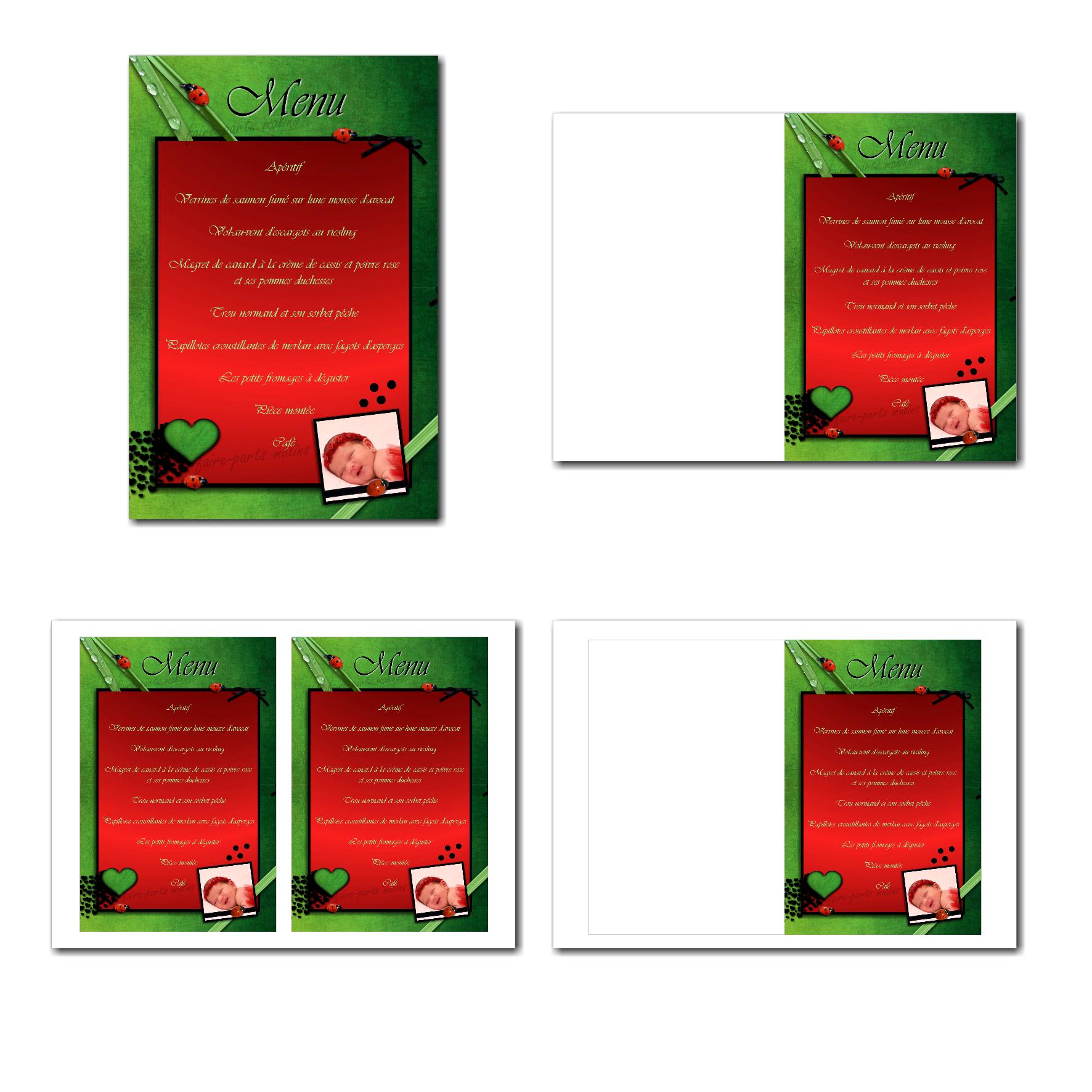 carte de menu illimité en rouge et vert avec petite coccinelle