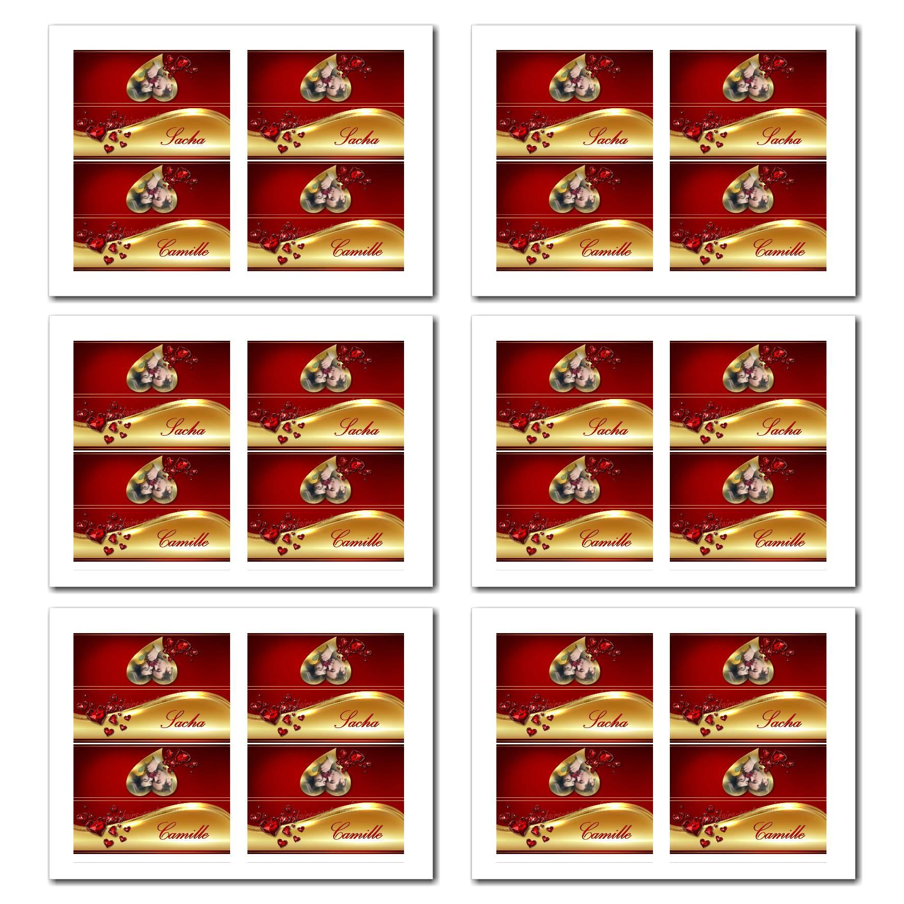 Marque-places avec prénom en rouge et or