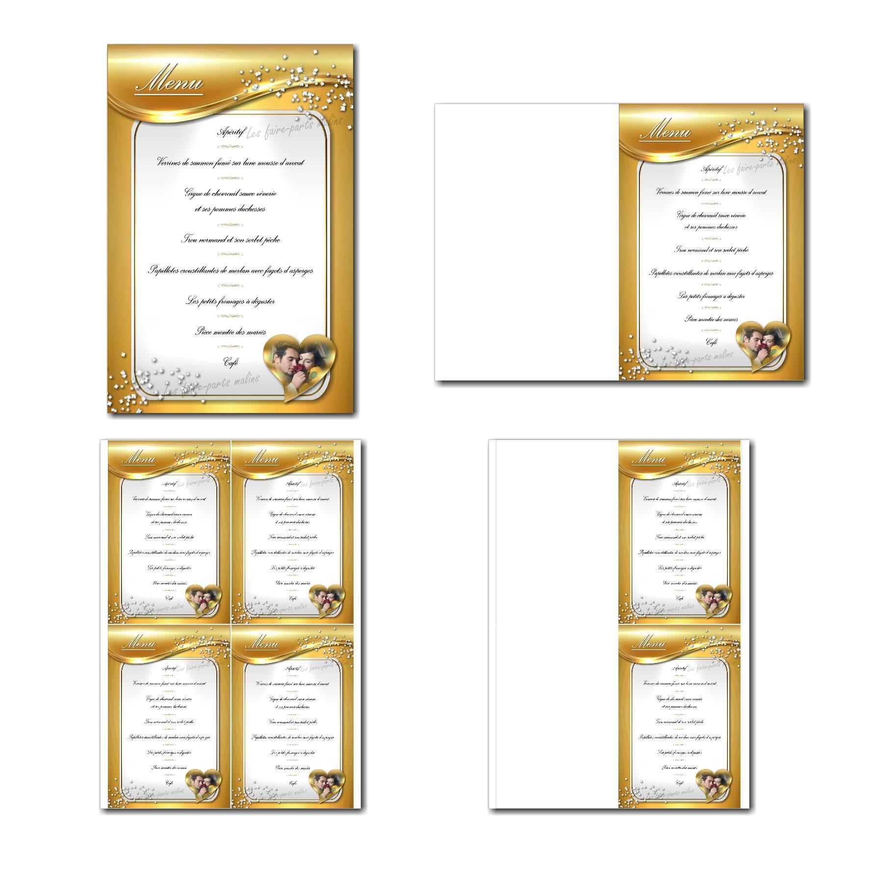 Carte de menu à imprimer fond doré et blanc