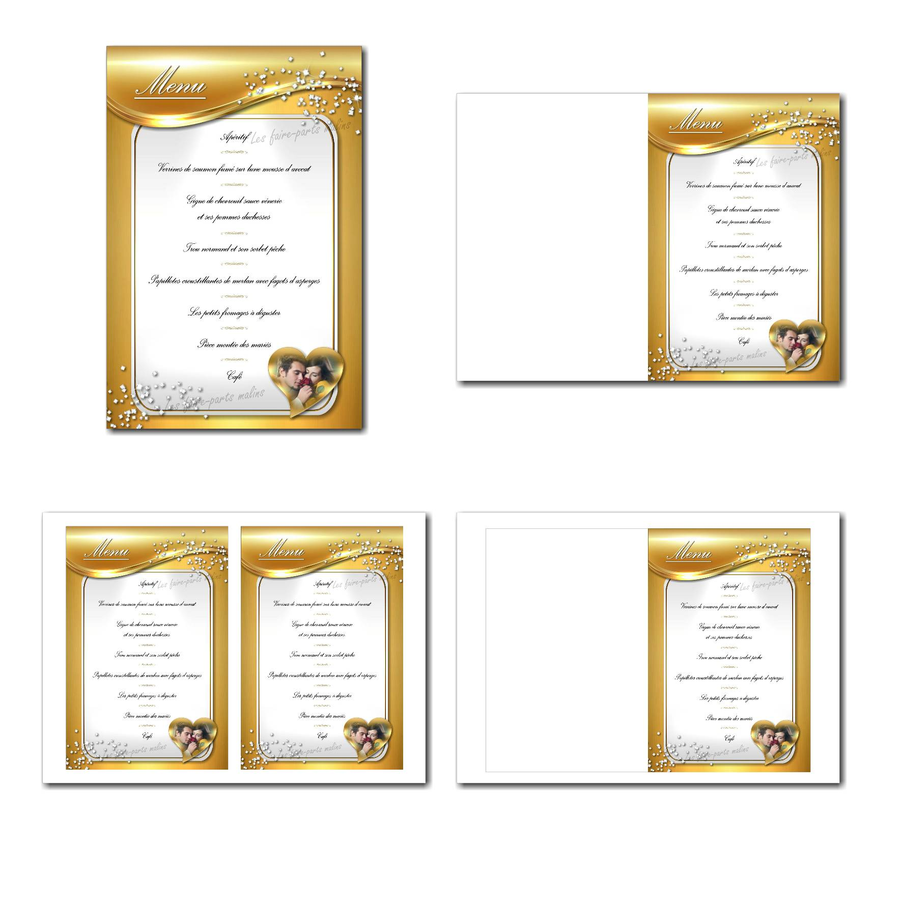 Carte de menu illimité avec diamants et fond doré