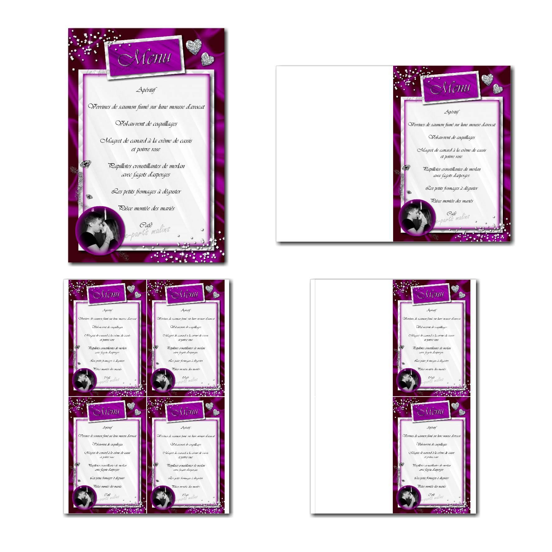 Carte de menu à imprimer diamants en violet et blanc