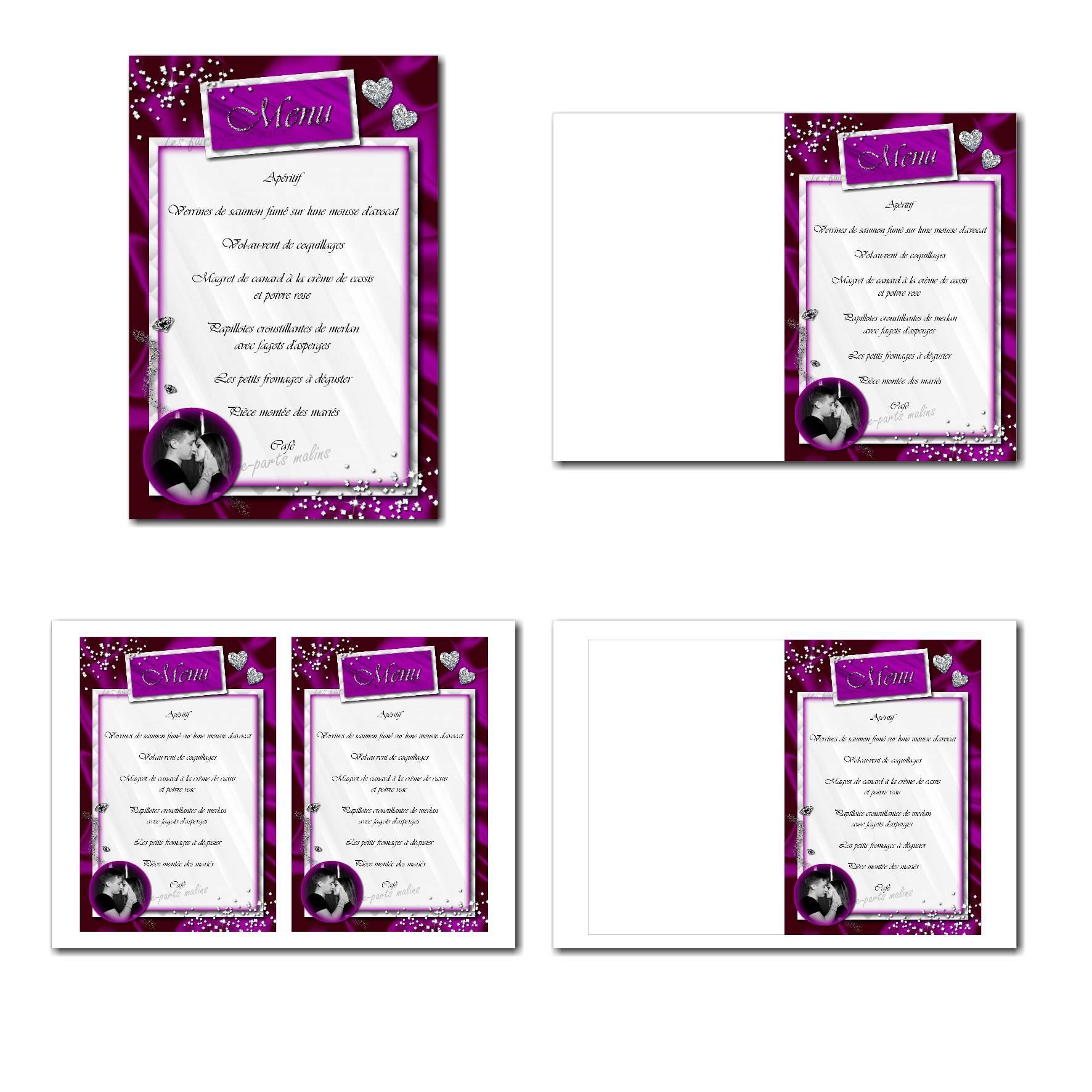 Carte de menu illimité avec diamants sur fond violet