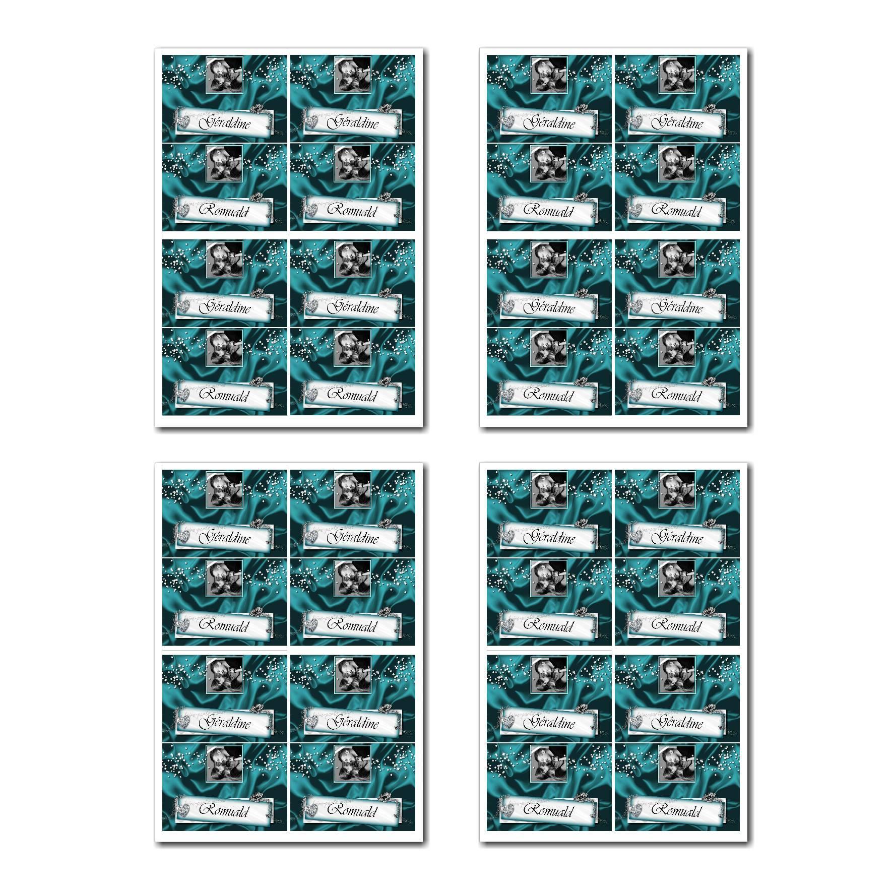 Marque-places prêt à imprimer diamants en turquoise