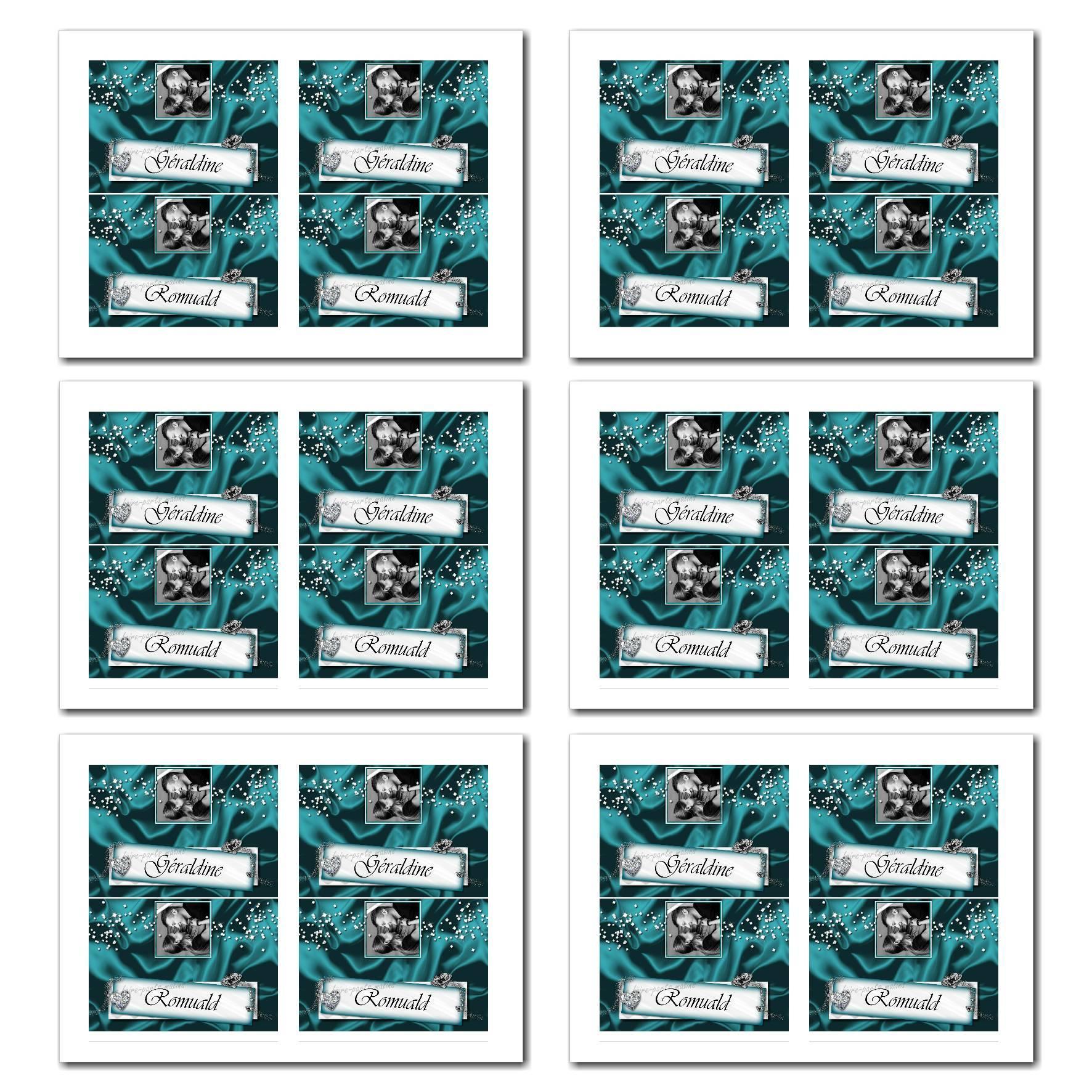 Marque-places avec prénom en turquoise et blanc avec diamants