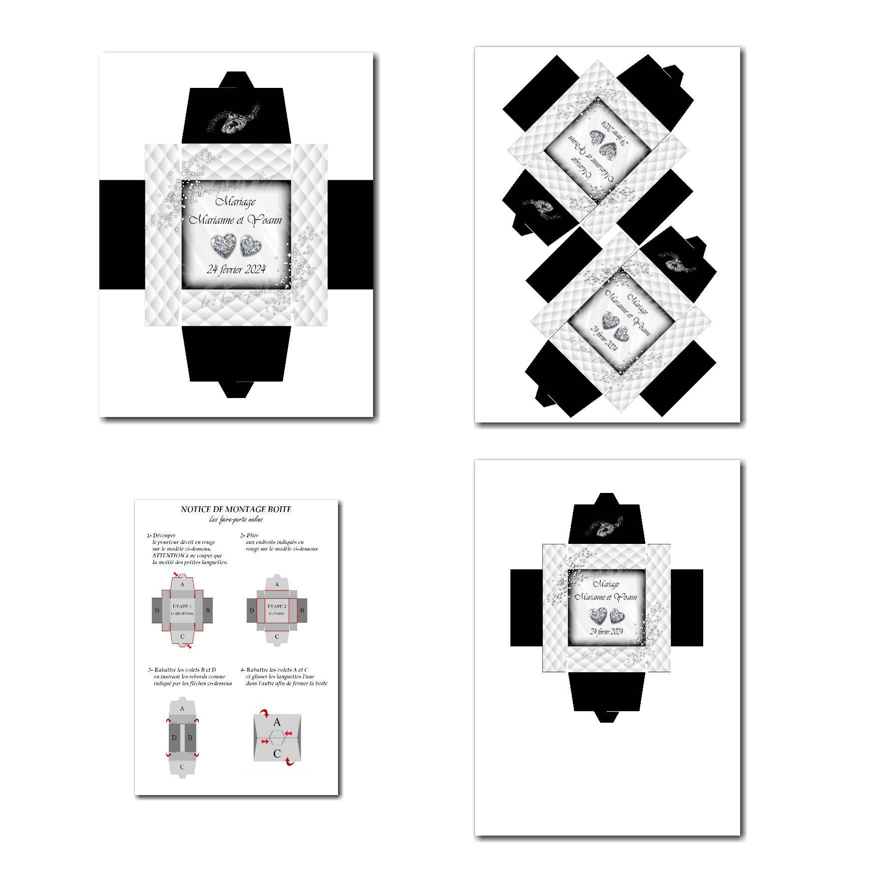 Boite à imprimer avec petits diamants en noir et blanc