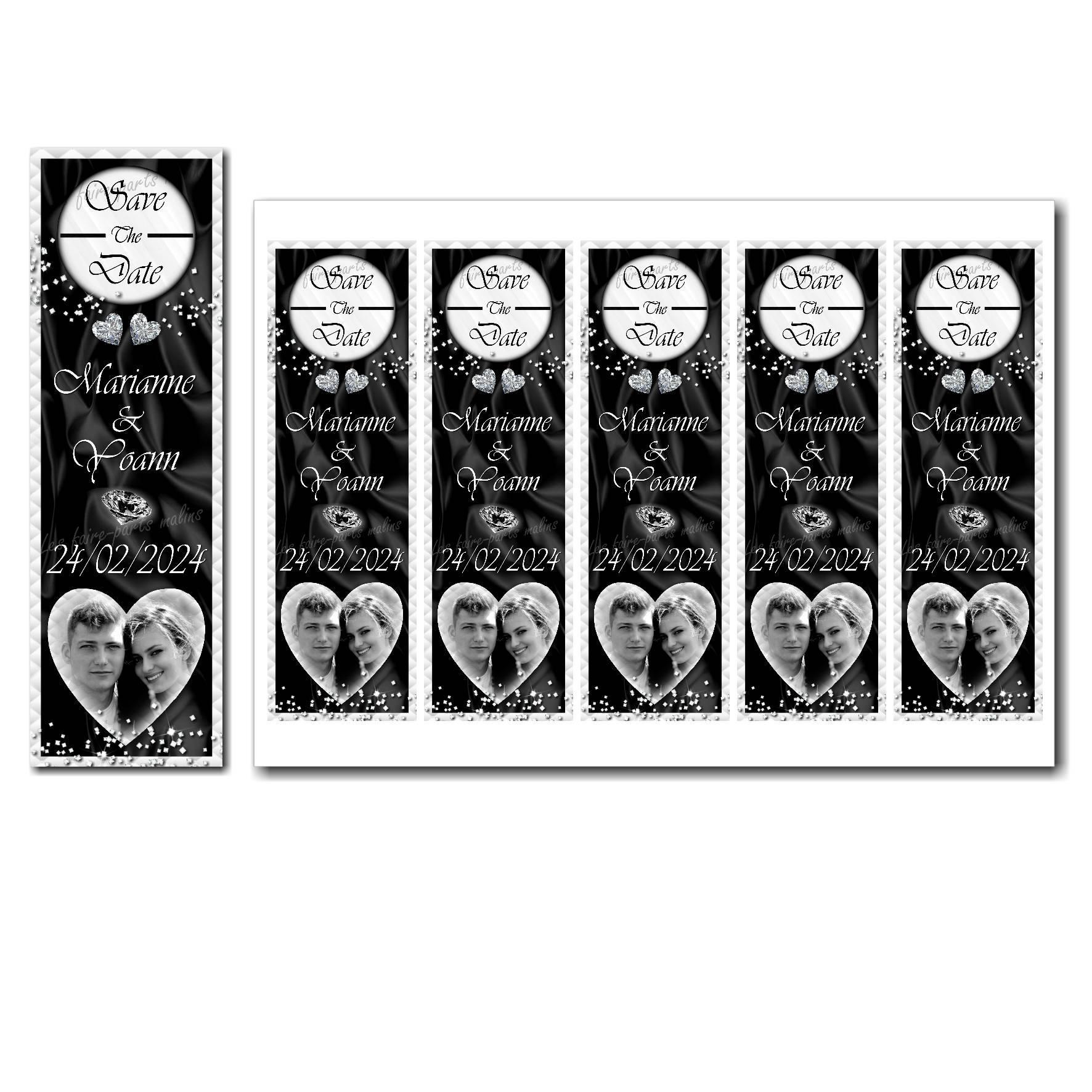 Save the date à imprimer noir et blanc avec petits diamants étincellants