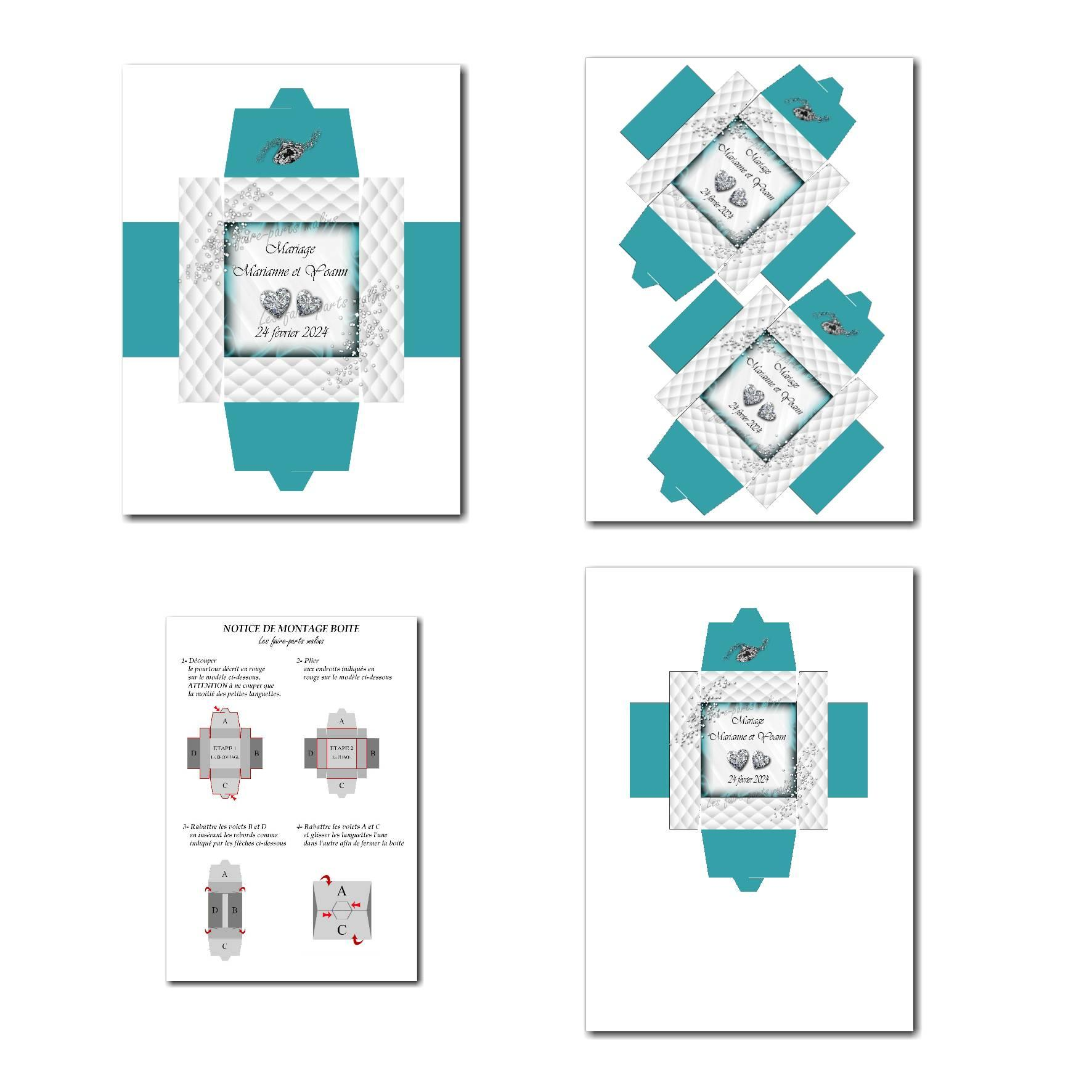 Boite à imprimer avec petits diamants en bleu