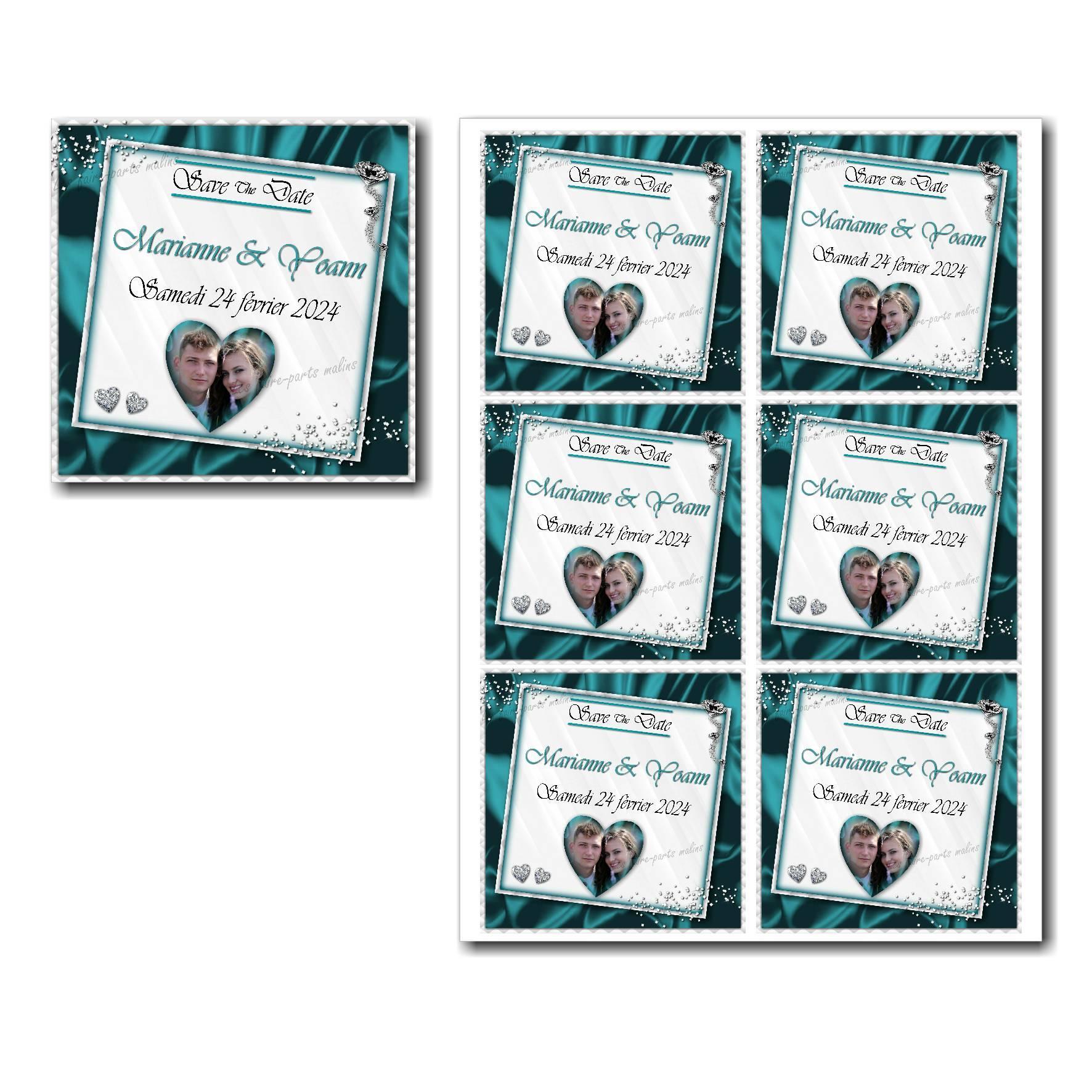 Save the date illimité avec diamants sur fond turquoise