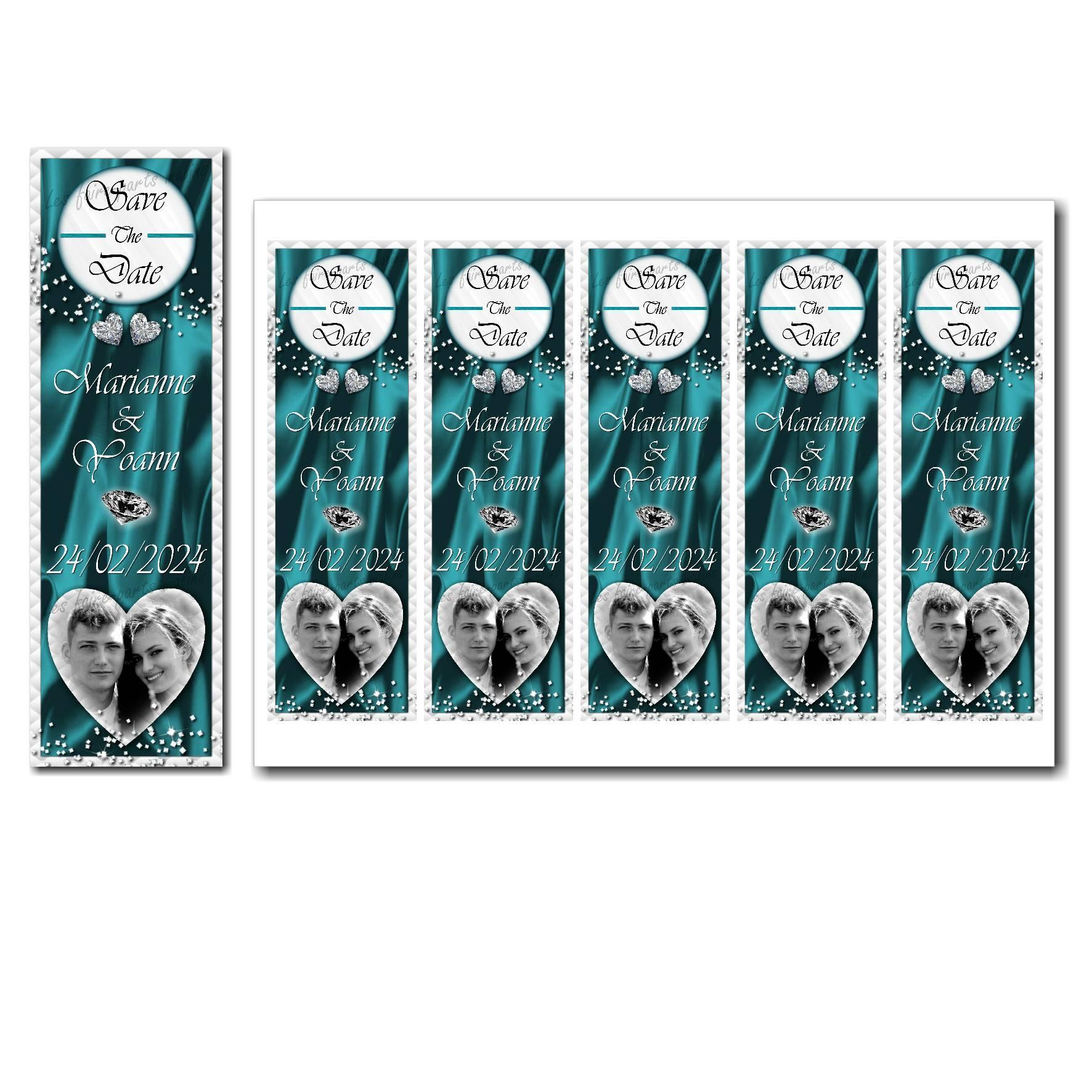 Save the date à imprimer turquoise et blanc avec petits diamants étincellants