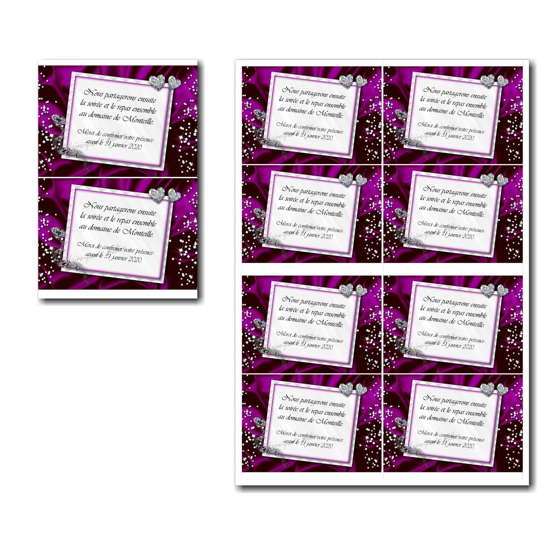 Coupon réponse à imprimer violet et blanc avec diamants